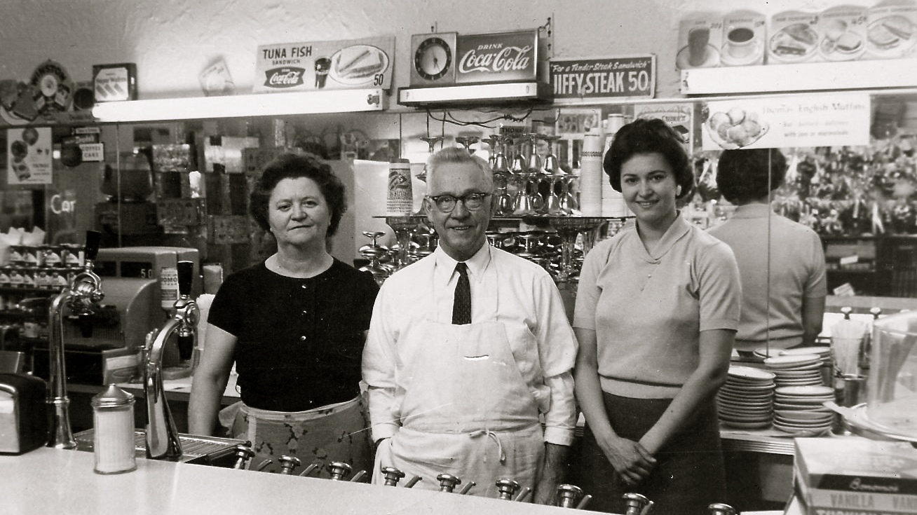 Mr & Mrs Panarites with daughter Georgia in the Sweet Shop
