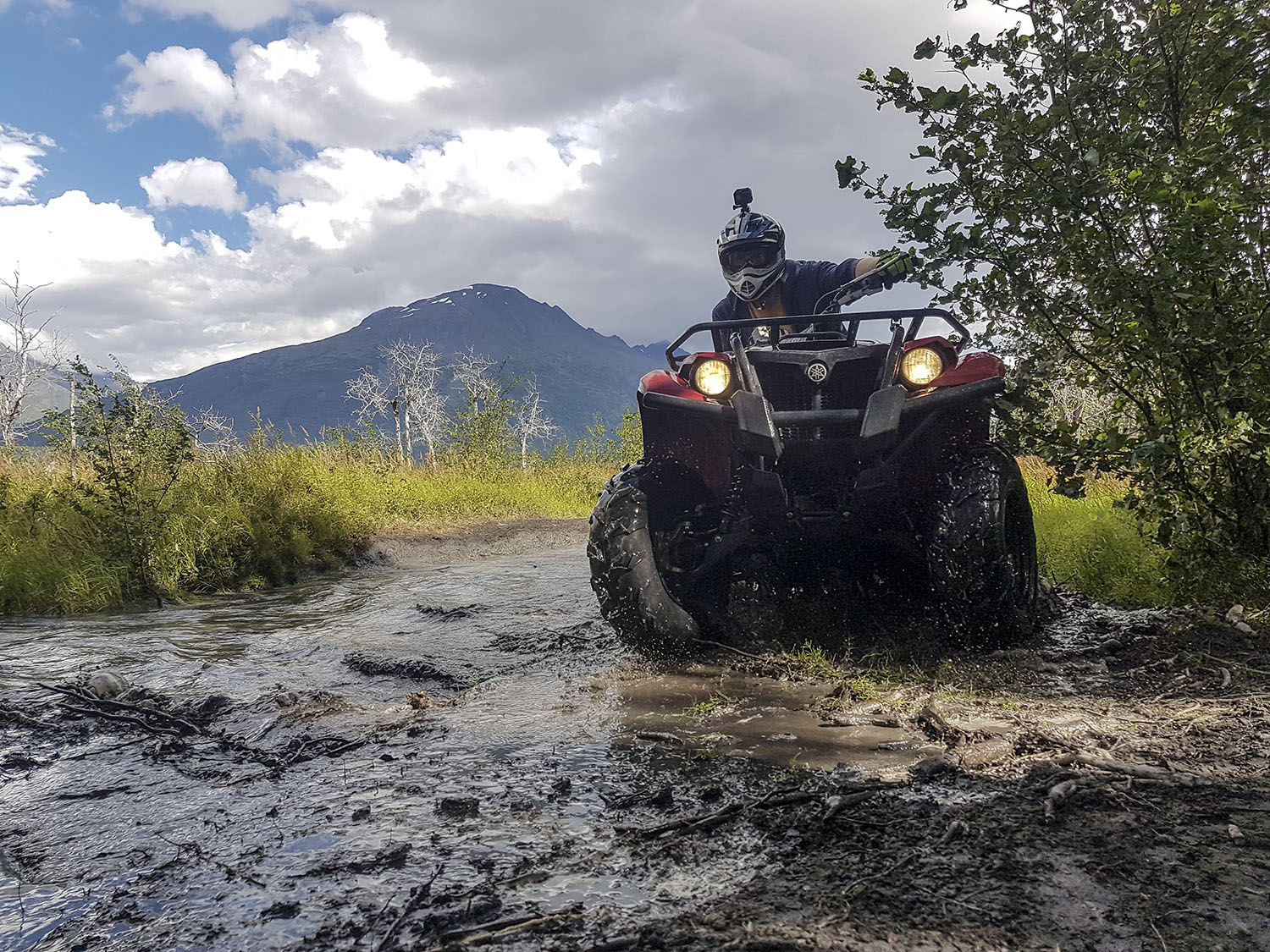 ATV Rider Making Water Crossing in the Knik River Valley