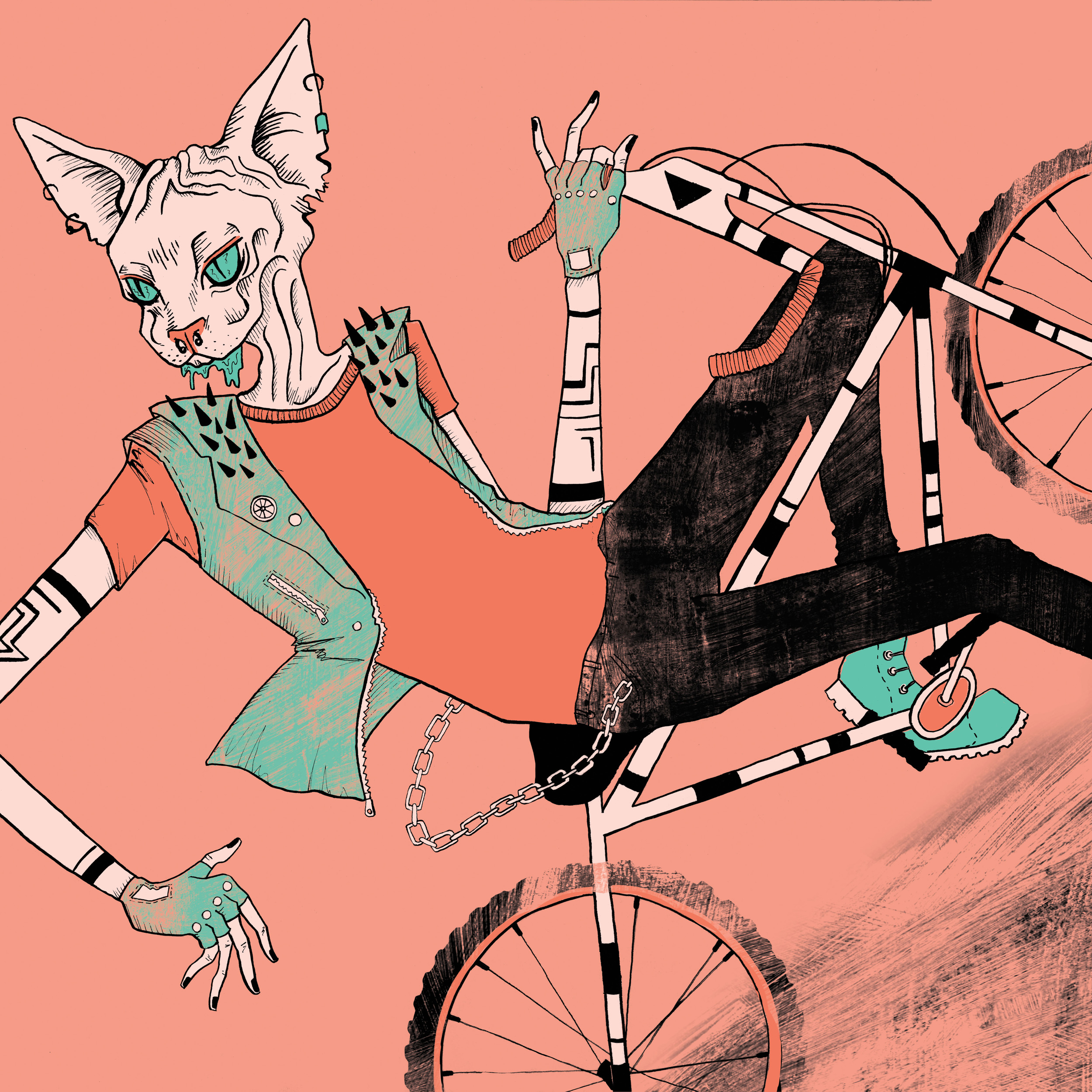 Cat Man (City Slicker). 2015.  Done for Toronto International Bicycle Show.