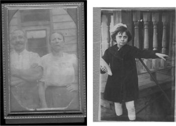Left: Mendel and Sarah Maltinsky, date unknown, possibly 1899, possibly New Jersey. Right: Freda Maltinsky, daughter of Mendel and Sarah, 1916 (age 16).