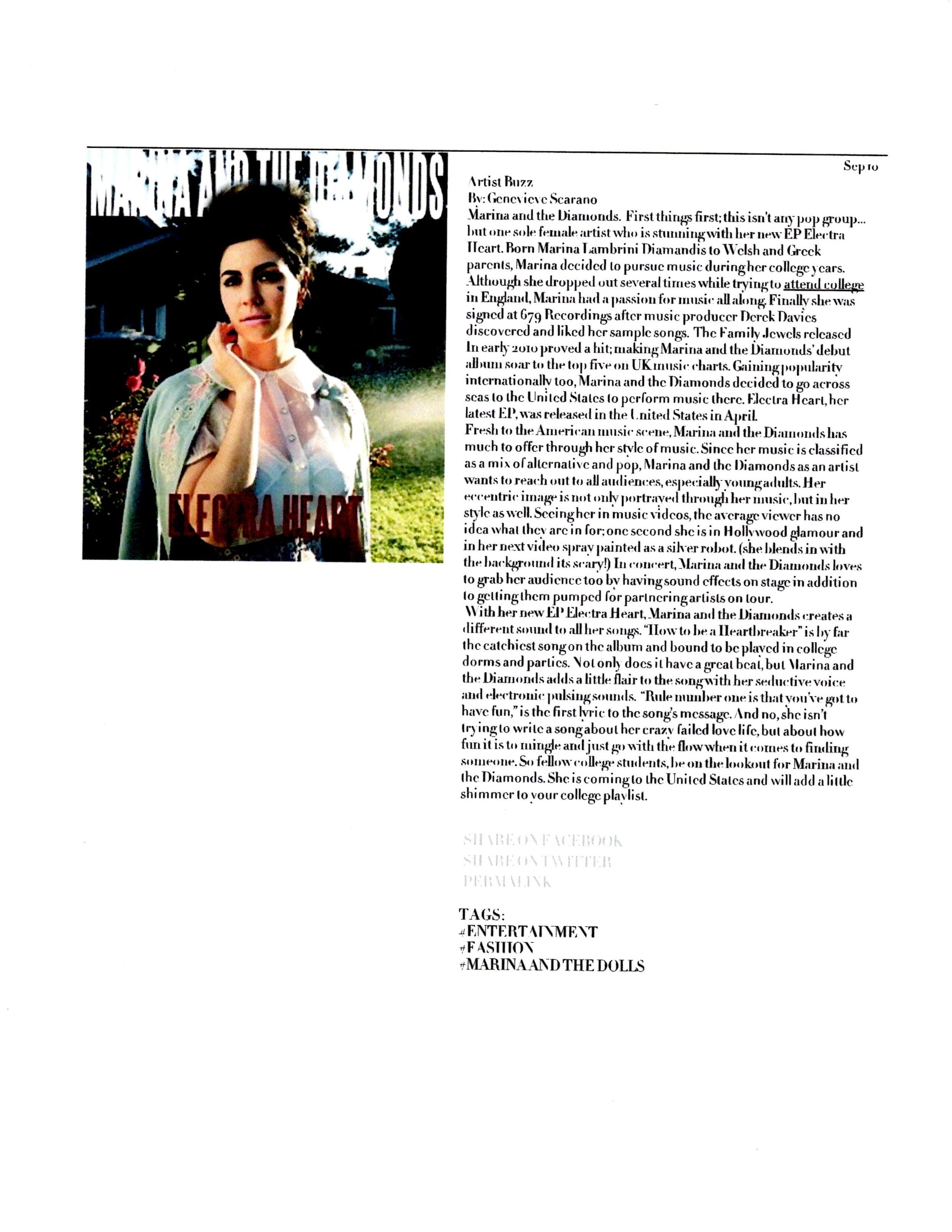 Marina and The Diamonds Feature