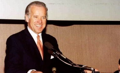 Senator Joe Biden speaking at a 2002 aic event