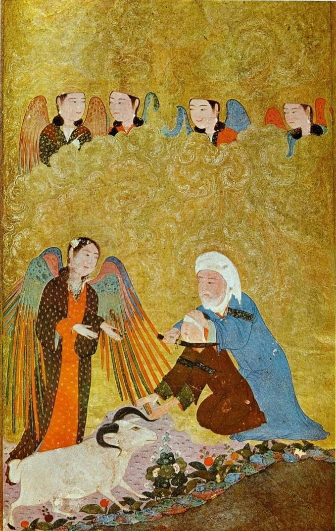 Fig. 5 (C/O Calouste Gulbenkian Museum)  Ibrahim's (Abraham's) sacrifice. Timurid Anthology, Shiraz, 1410-11