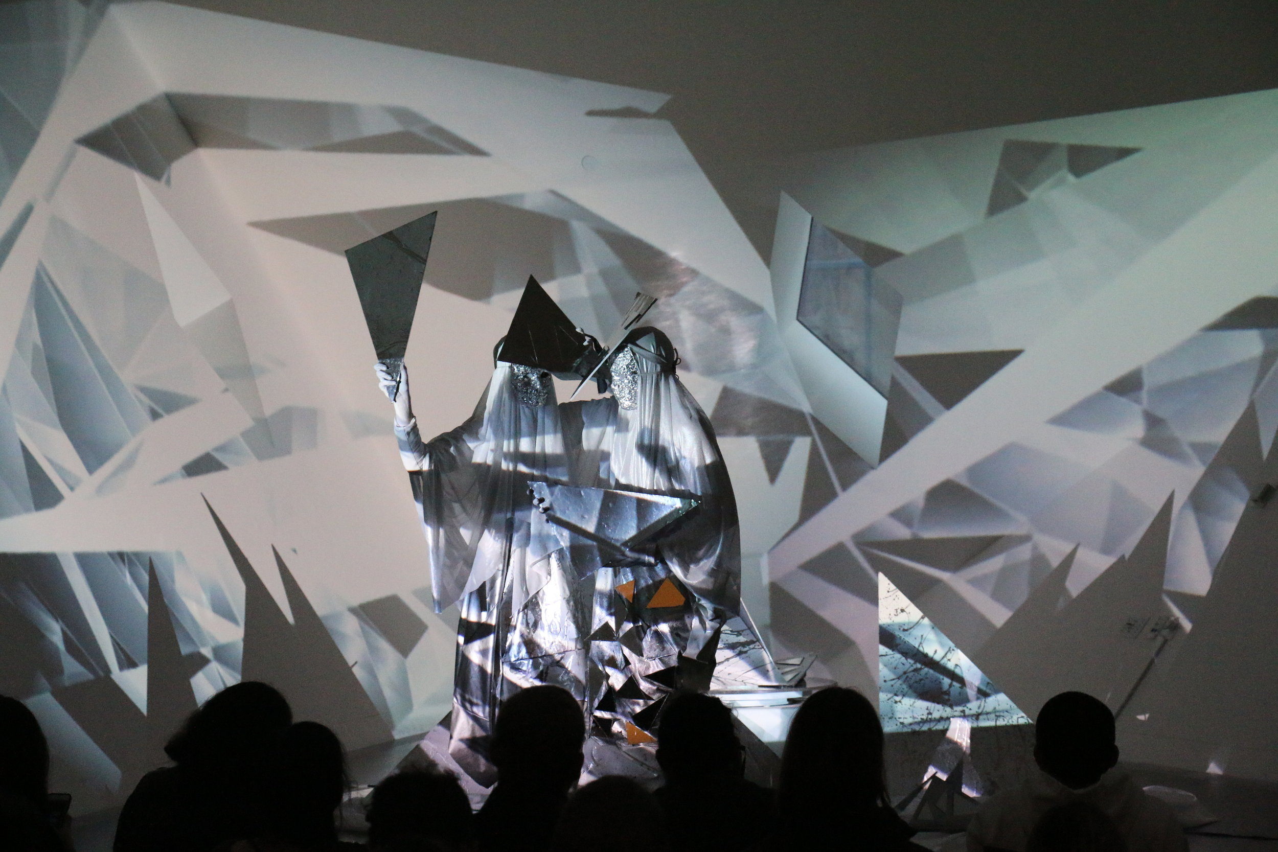 Curation of Material Notation including site-specific installation, video and performance at the  Contemporary Jewish Museum in the Yud Gallery  during the Soundwave Biennial.  Pictured: Suzy Poling with Natalee Decker