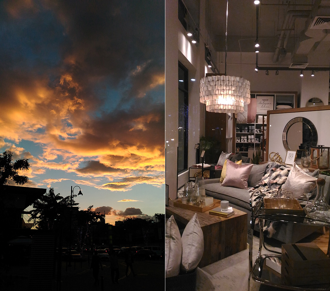 Unfiltered photos of the sky and window display at West Elm, in Auto Mode
