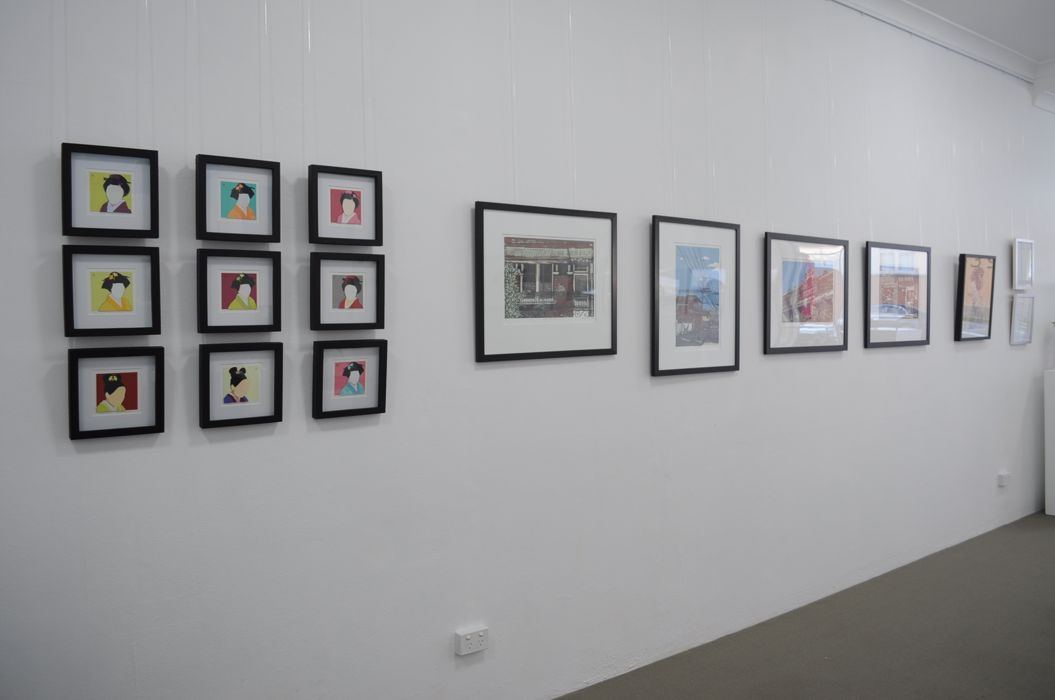 Annemaree Hunter - papercuts, Alison Pateman - reduction linocuts