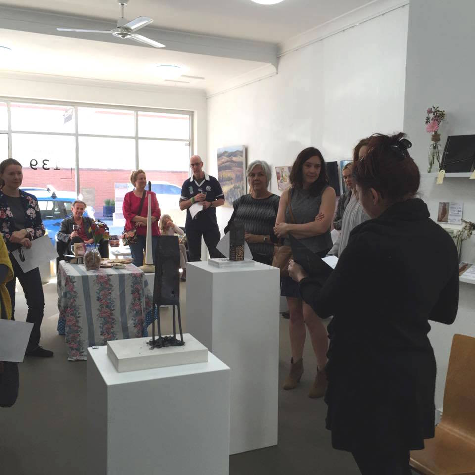 Maggie Hall performing her poem written in response to the exhibition INSIDE OUTSIDE at the opening on Saturday 29 August 2015