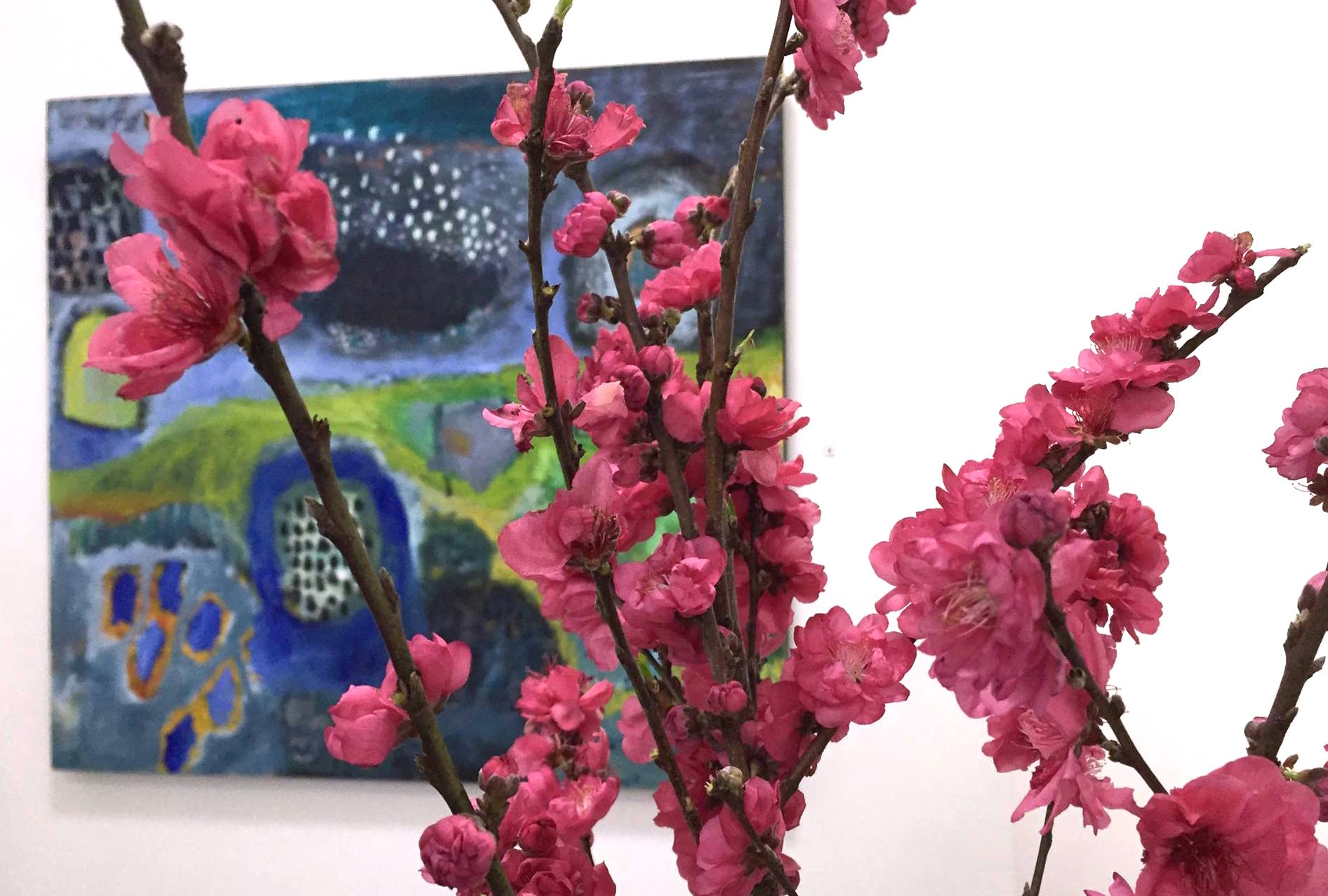artwork:  North of here  by Julia Flanagan; flowers from Elegant Blooms Flower Boutique