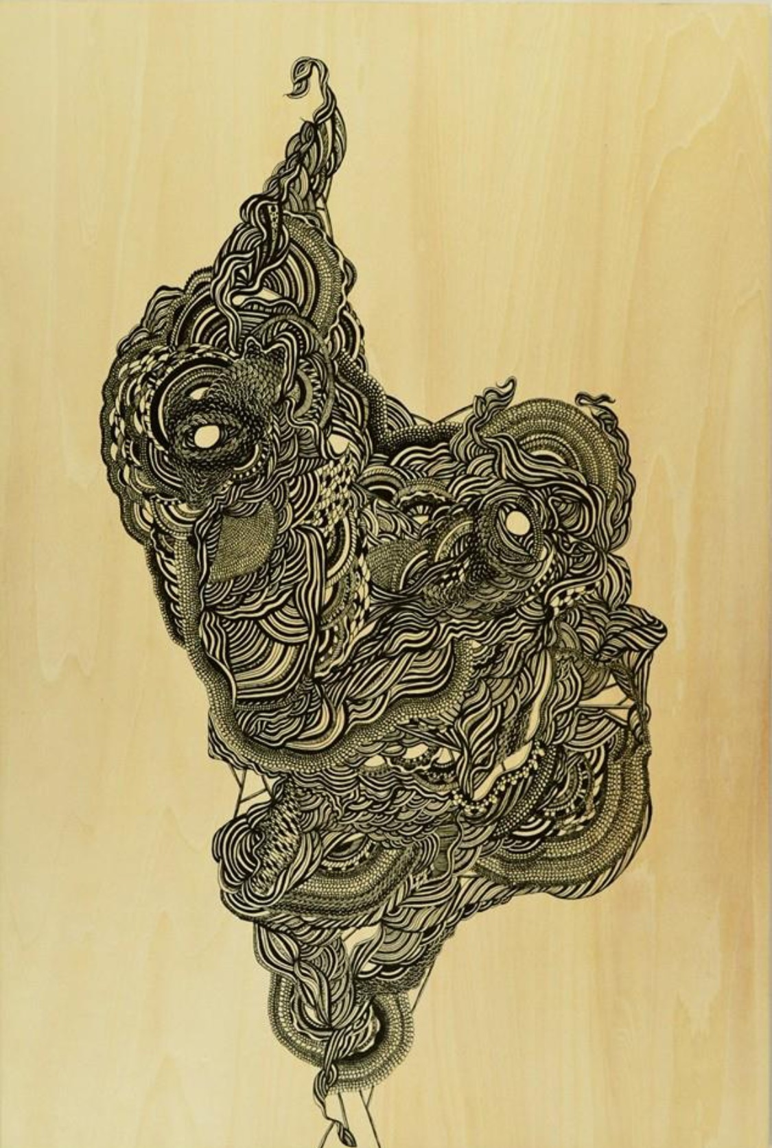 """feerie de tourbillion"" ink on Shina Japanese plywood 45cm x 30cm unframed  $180.00"