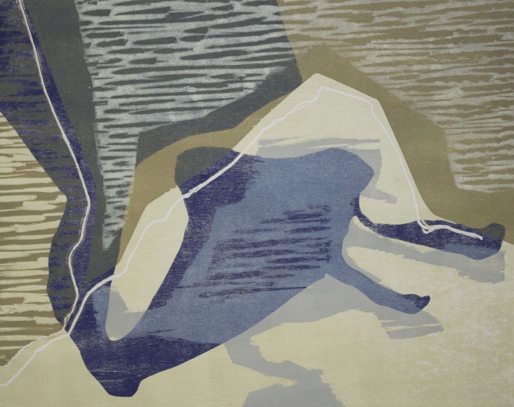Parade #2 2015 5 colour woodcut on Hosho paper  $480.00  framed 62.5 x 73cm (image 40 x 50cm) edition 1/2