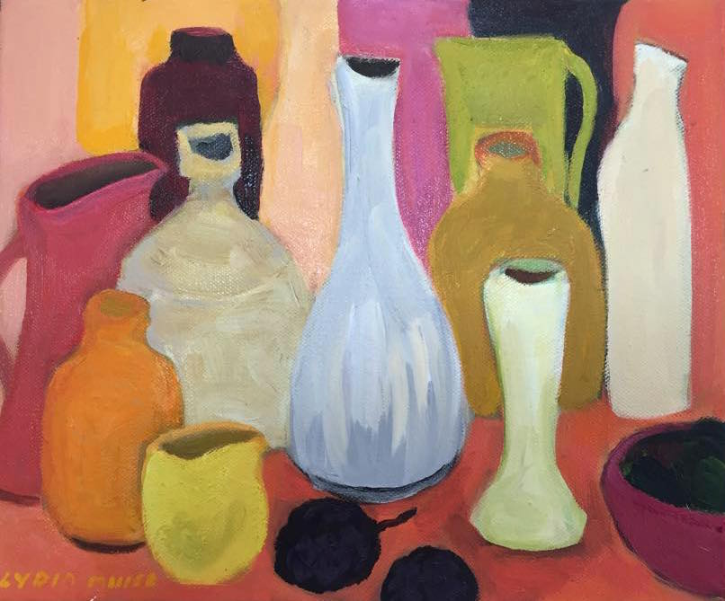 Still life with passionfruit oil  on canvas 25cm x 31cm  $350.00