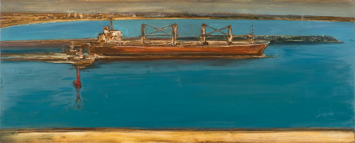 """""""Crimspn Bouy"""" 2014 oil on hardboard 82cm X 204 cm  $2600.00"""