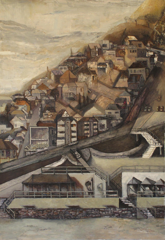 "Paul Maher ""Suburban Opera"" oil on canvas 1700 x 1190mm"