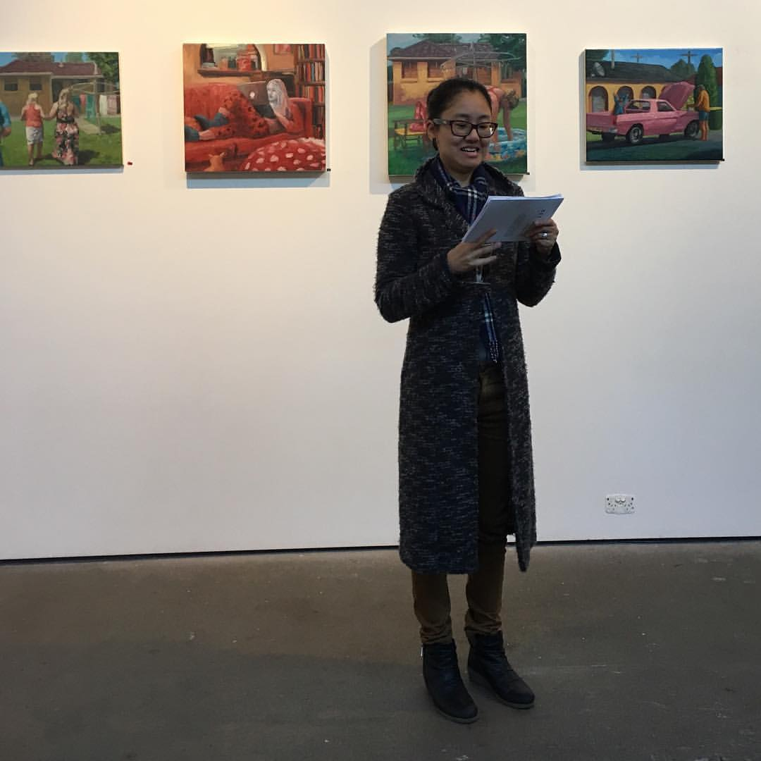 Gallery Director, Ahn giving the opening speech at The Depot Gallery, Sat 28 May