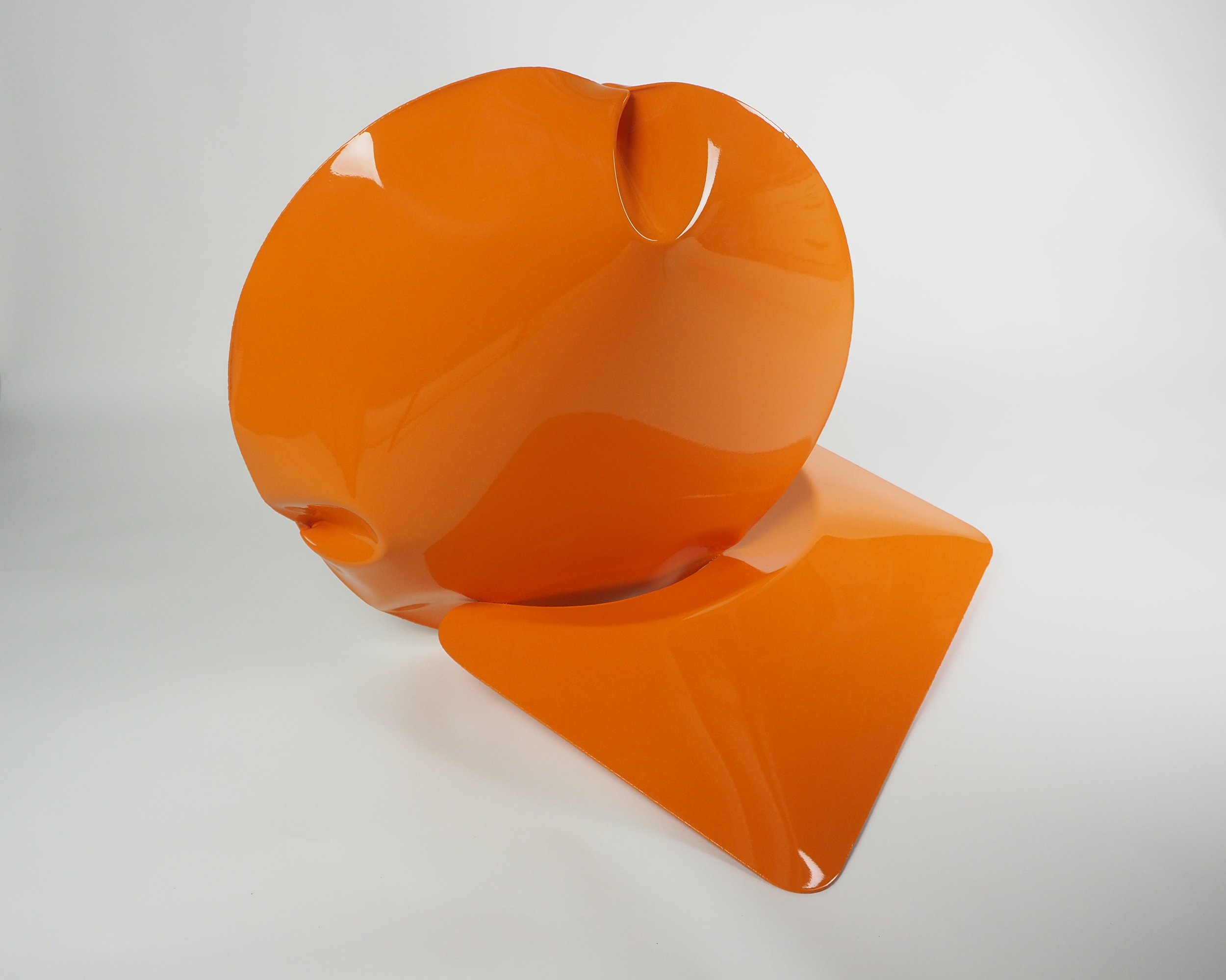Two Act Performance in Orange 2015  Air formed welded steel and epoxy paint by Braddon Snape