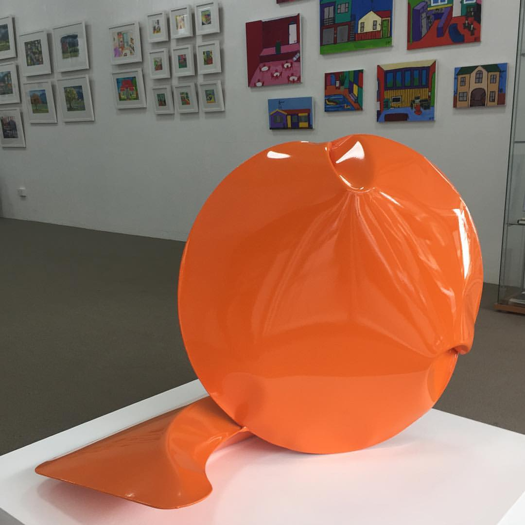 """Braddon Snape  Two Act Performance in Orange 2015  Air formed welded steel and epoxy paint in """"The Artist as Mentor"""" exhibition"""