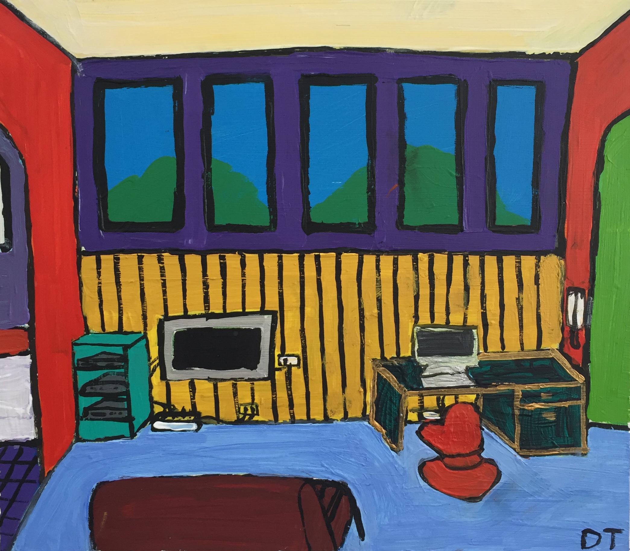 Dane Tobias  The Rankin Park Teenage Retreat  2016 oil on canvas 35 x 40cm