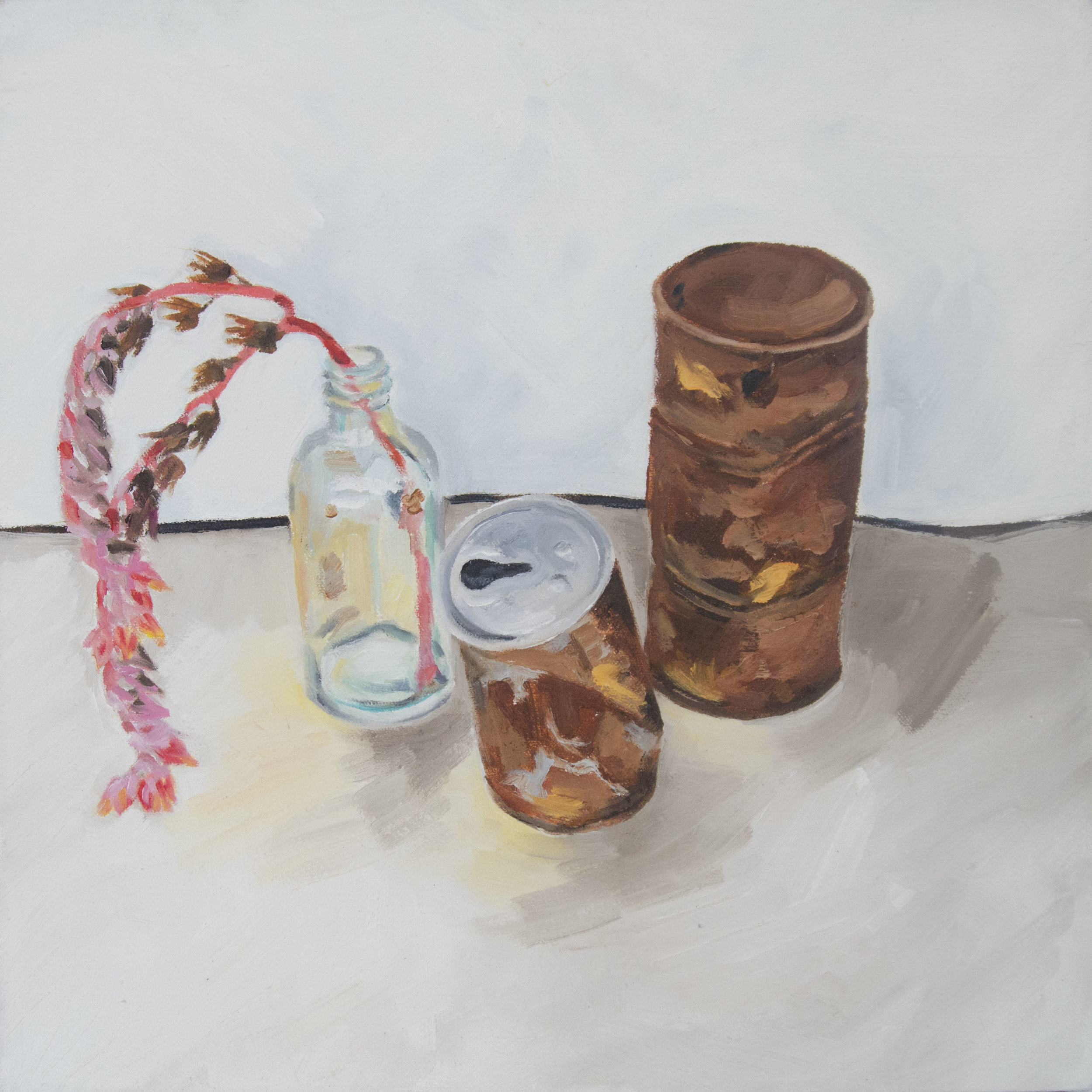 Christina Frogley  Cans with Echeveria Flower No,1 2016 oil on canvas