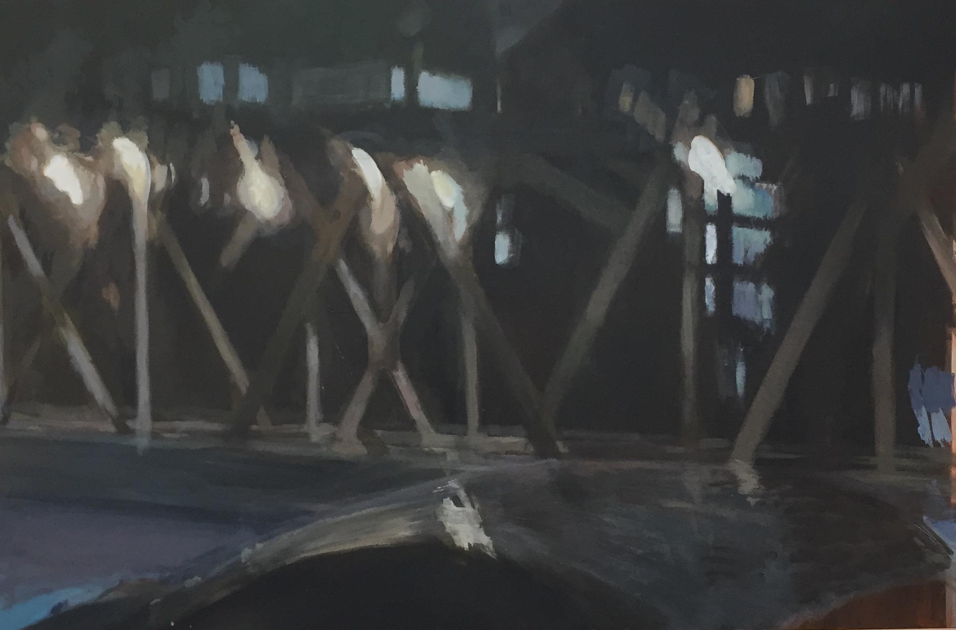 Iron Crossing Acrylic on Hardboard 80 x 120 cm $2000.00