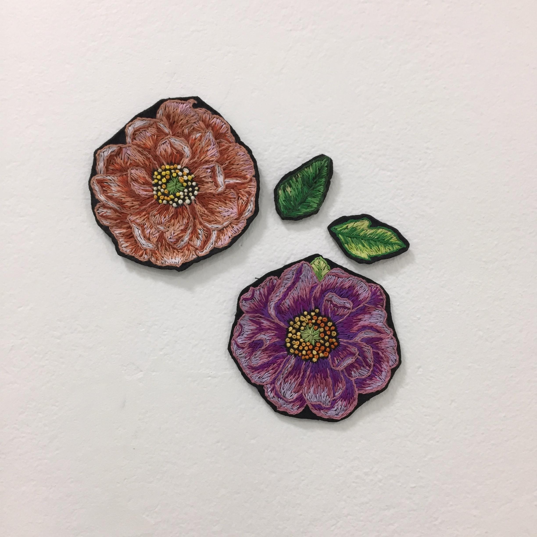 Renee McIntosch_Peony peach and purple and 2 leaves_ hand embrodiery.JPG