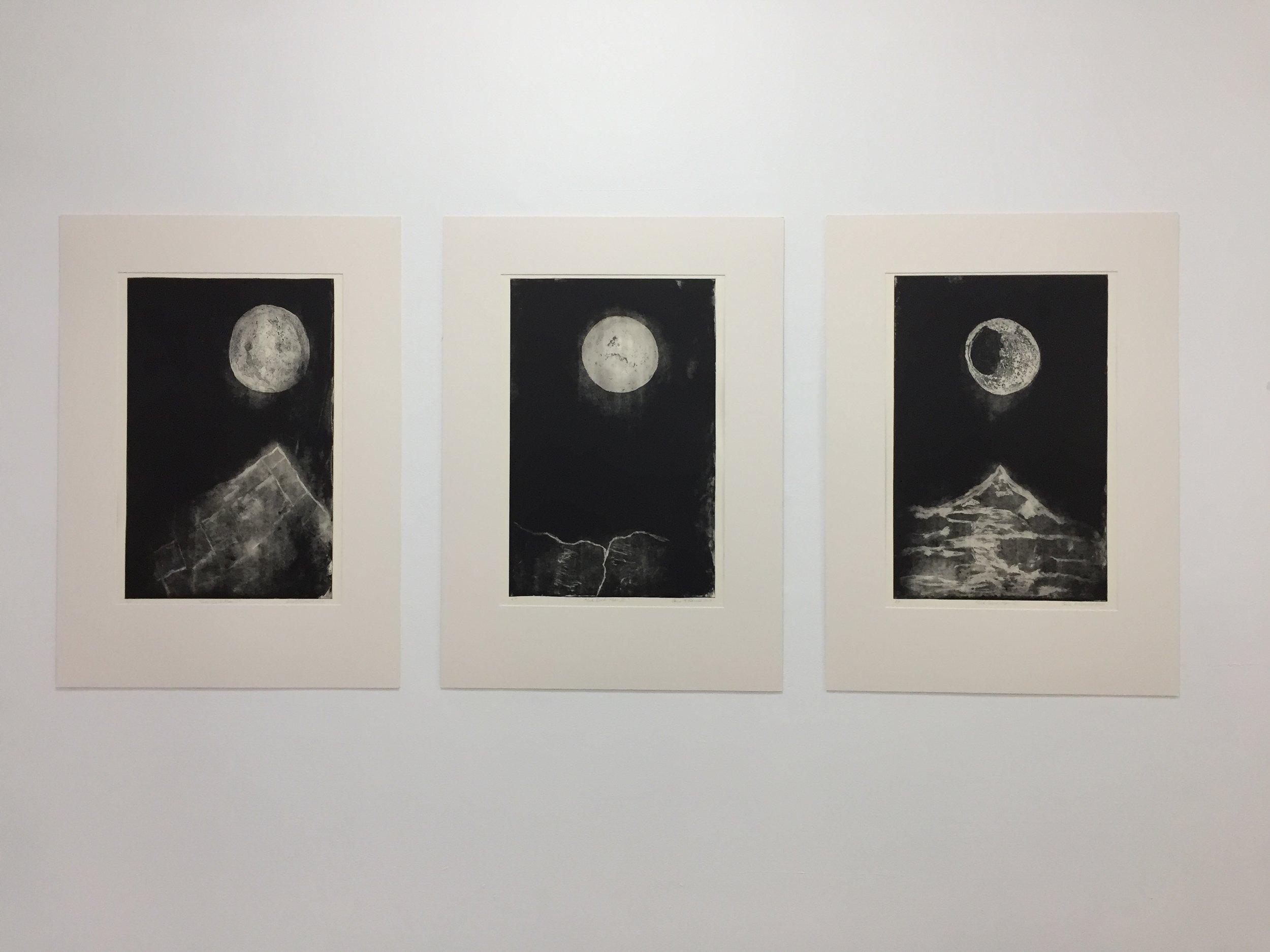 Install view Gina McDonald  Moon I, II, II 2017  etching 60 x 40cm