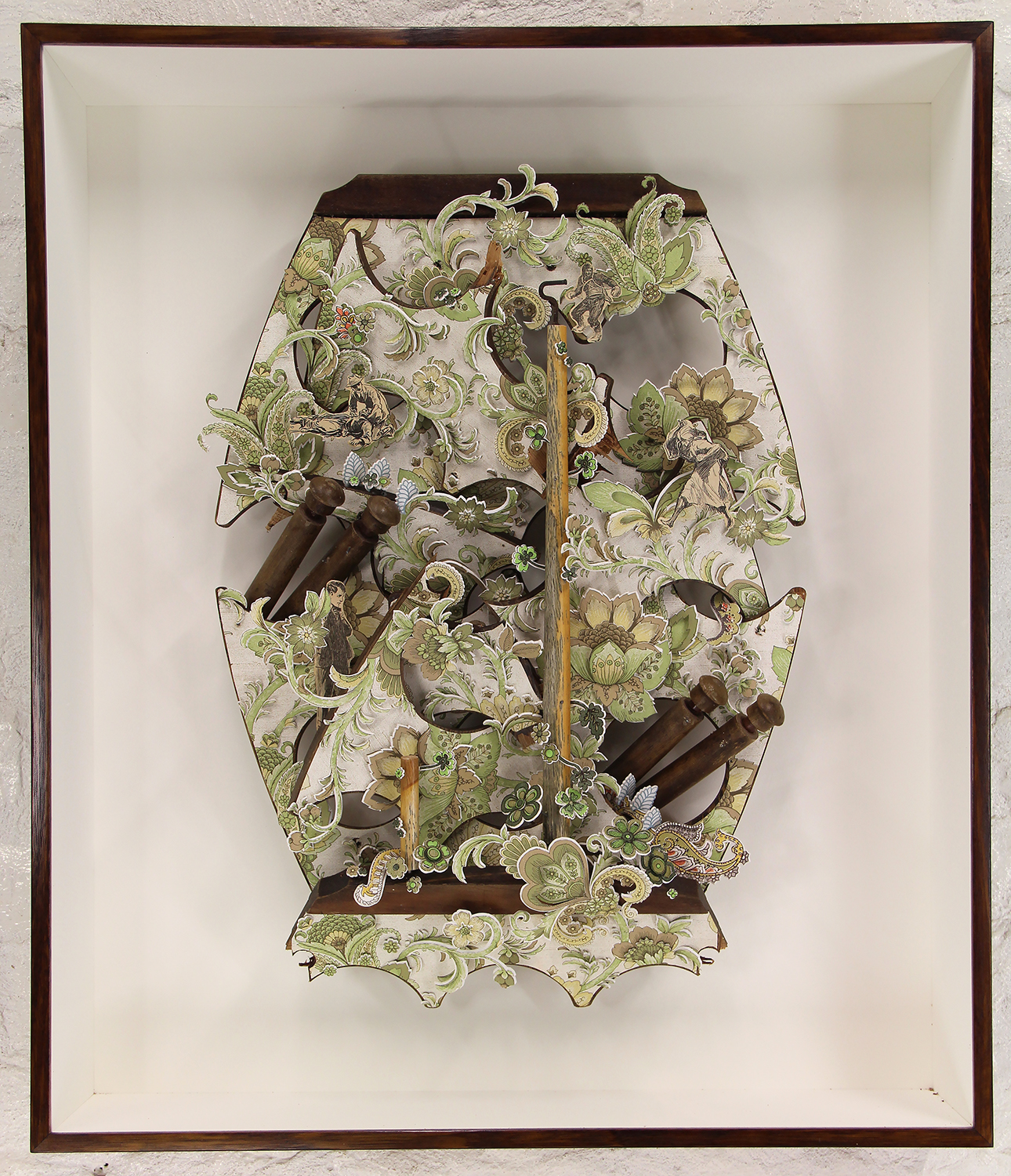Dominic Kavanagh Flowers in the cellar 2015 Wall paper and vintage illustration cutouts, wire, discarded timber and plywood wire rack 74.5x64x15cm