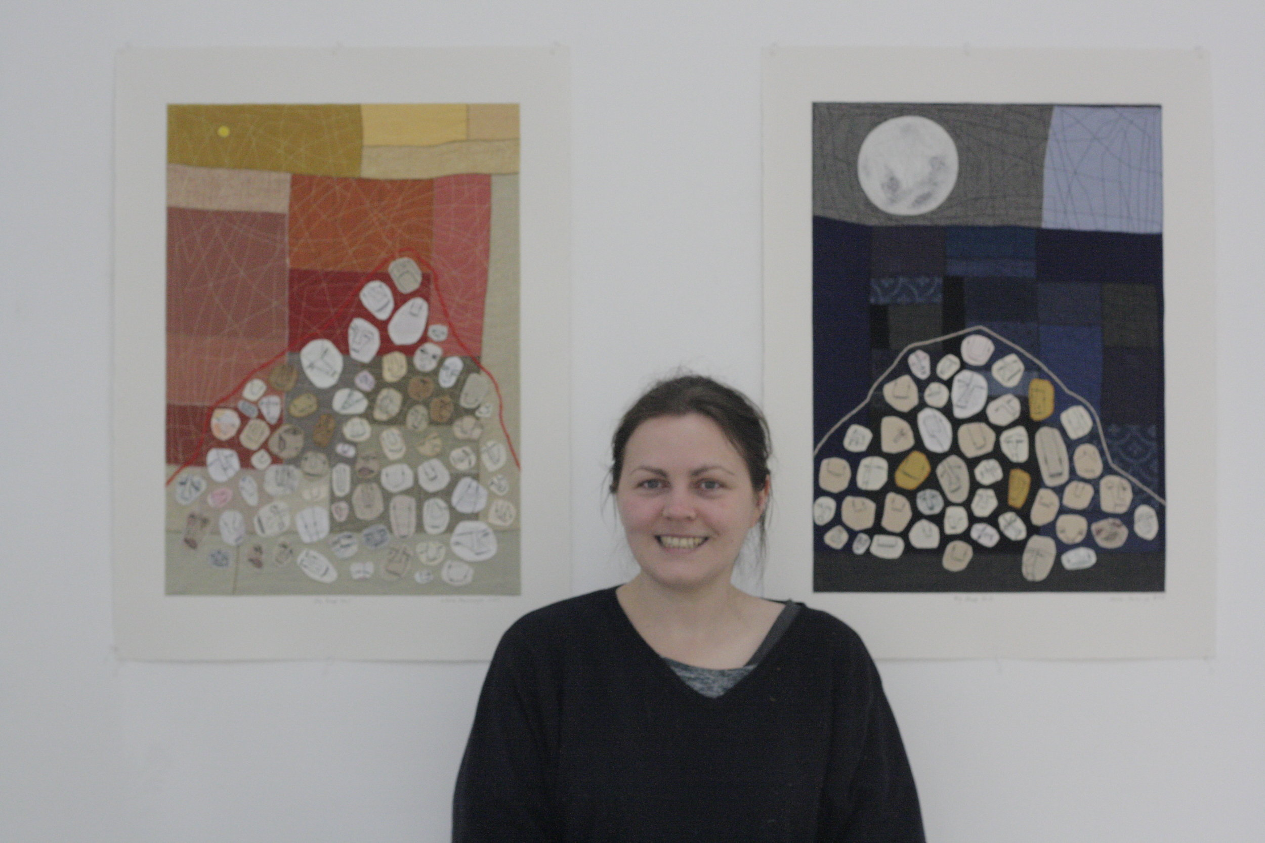 Olivia Parsonage in front of her work in her solo exhibition  The Clocking Tick  2017