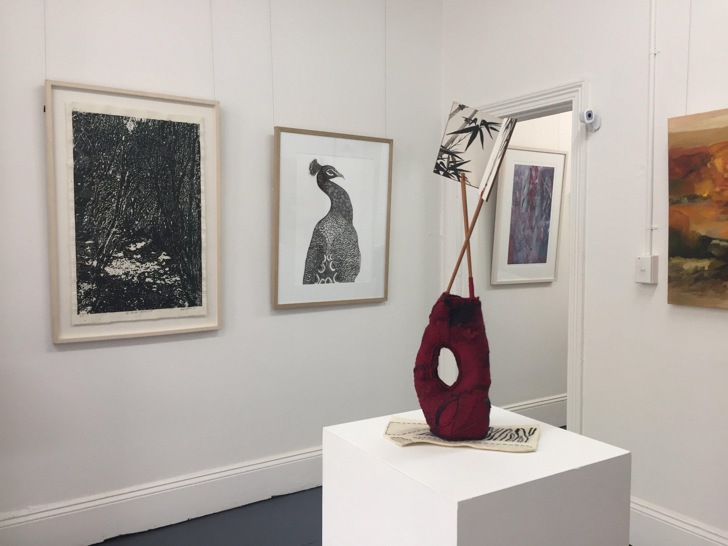 install view printmaking by Sally Reynolds,Terri Brander, Helene Leane, painting by Lydia Miller, sculpture by Giselle Penn