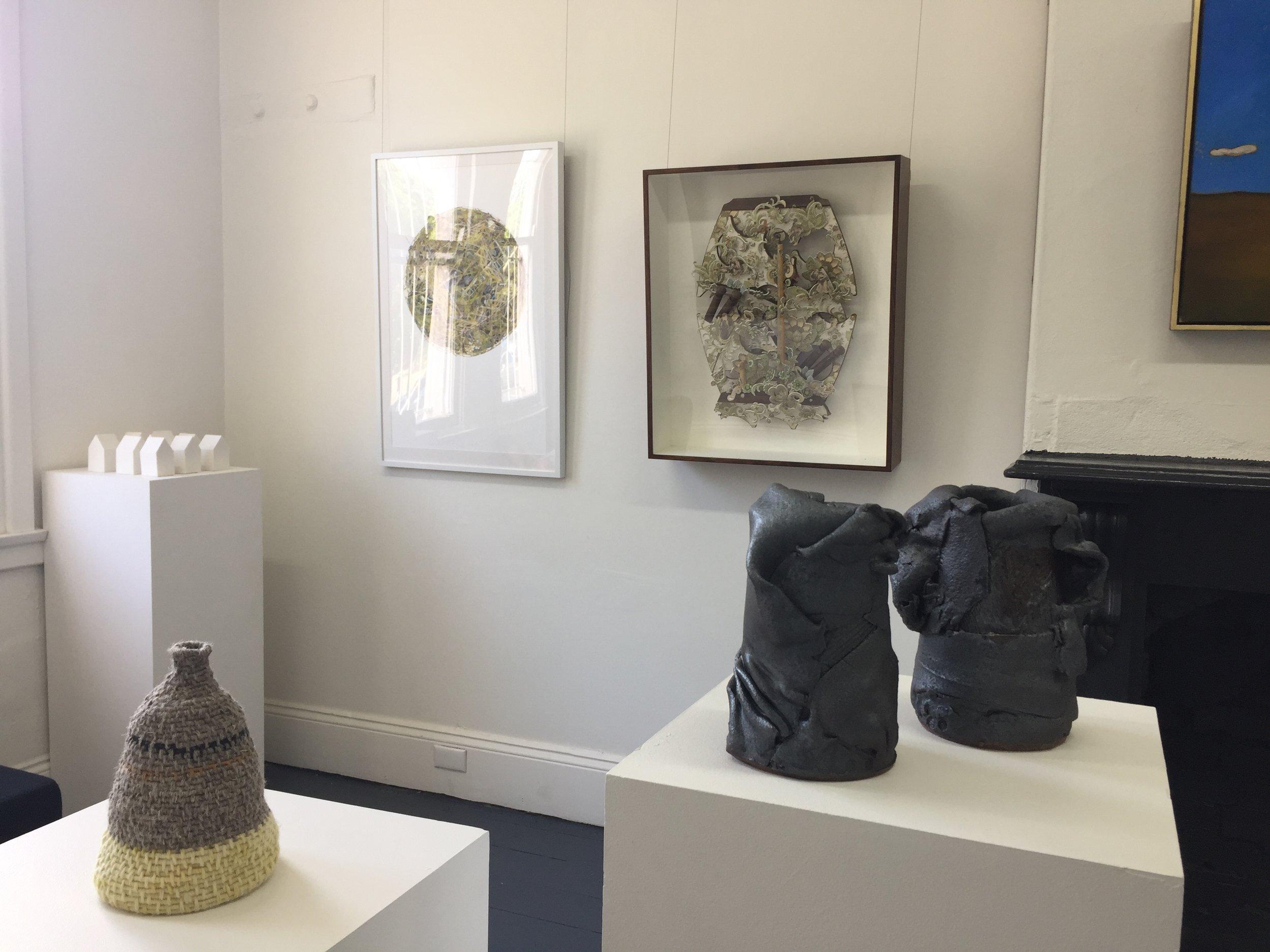 install view on wall Alison Smith, Dominic Kavanagh, porcelain houses Nadia Aurisch, vessel Melissa Bull, ceramic vases John Heaney