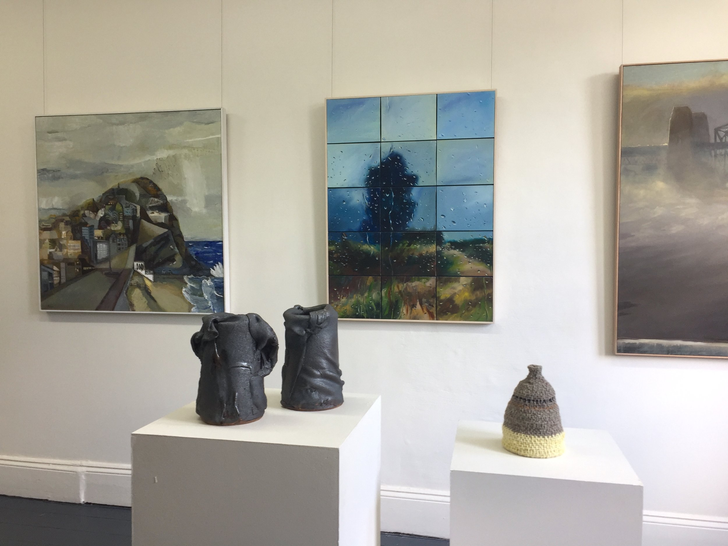nstall view including paintings by Paul Maher, Shelagh Lummis, Dino Consalvo and ceramics by John Heaney and textiles by Melissa Bull