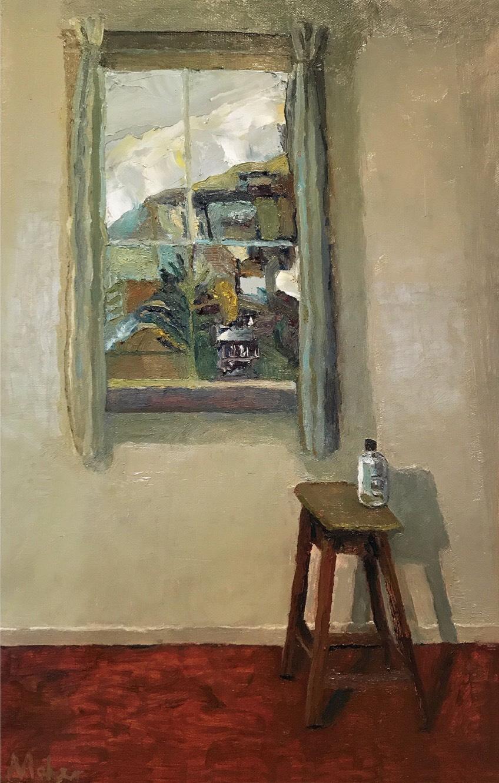 Paul Maher Window Seat 2017 oil on canvas 28 x 45cm $450.00.JPG