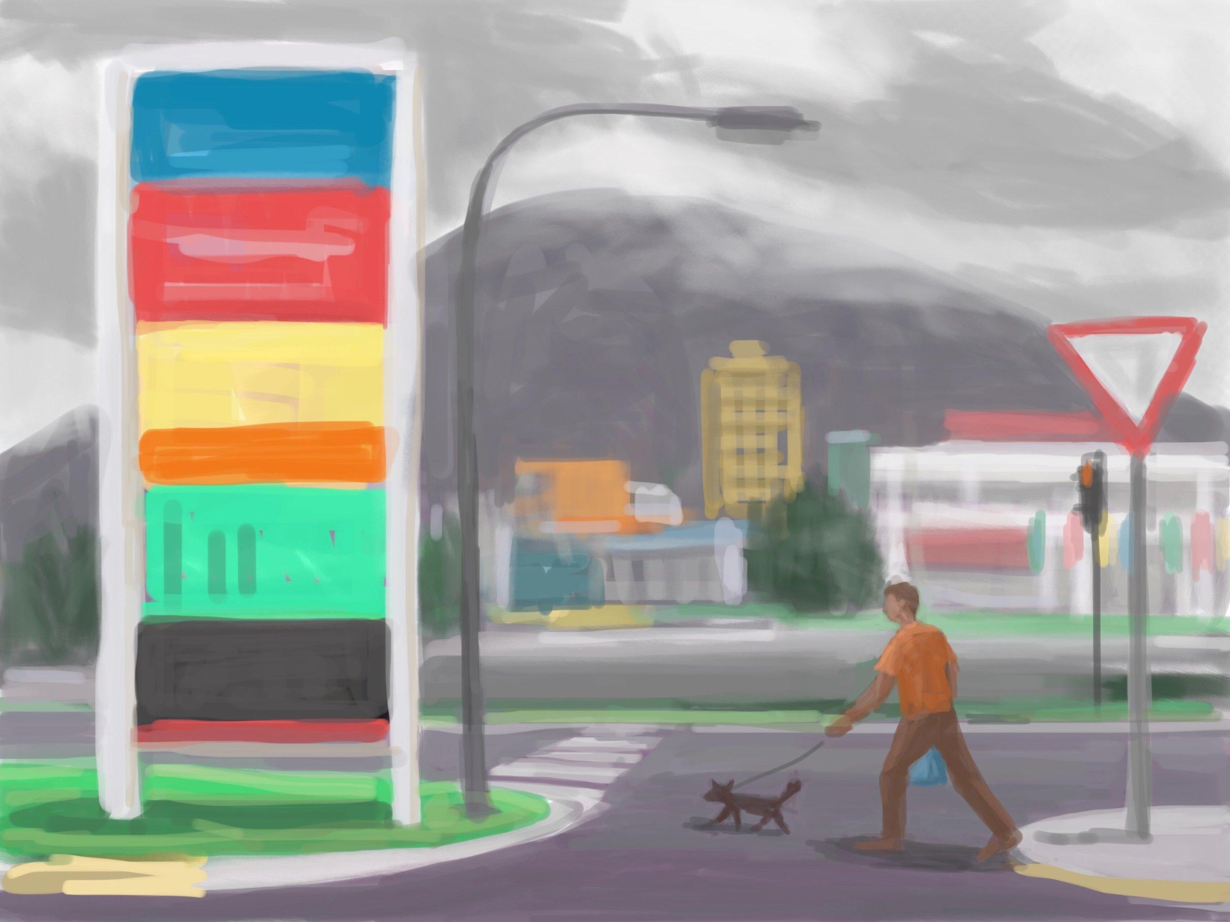 Peter Lankas  Tropics walk 2017 ipad drawing, archival inkjet print, edition of 10 42 x 52cm