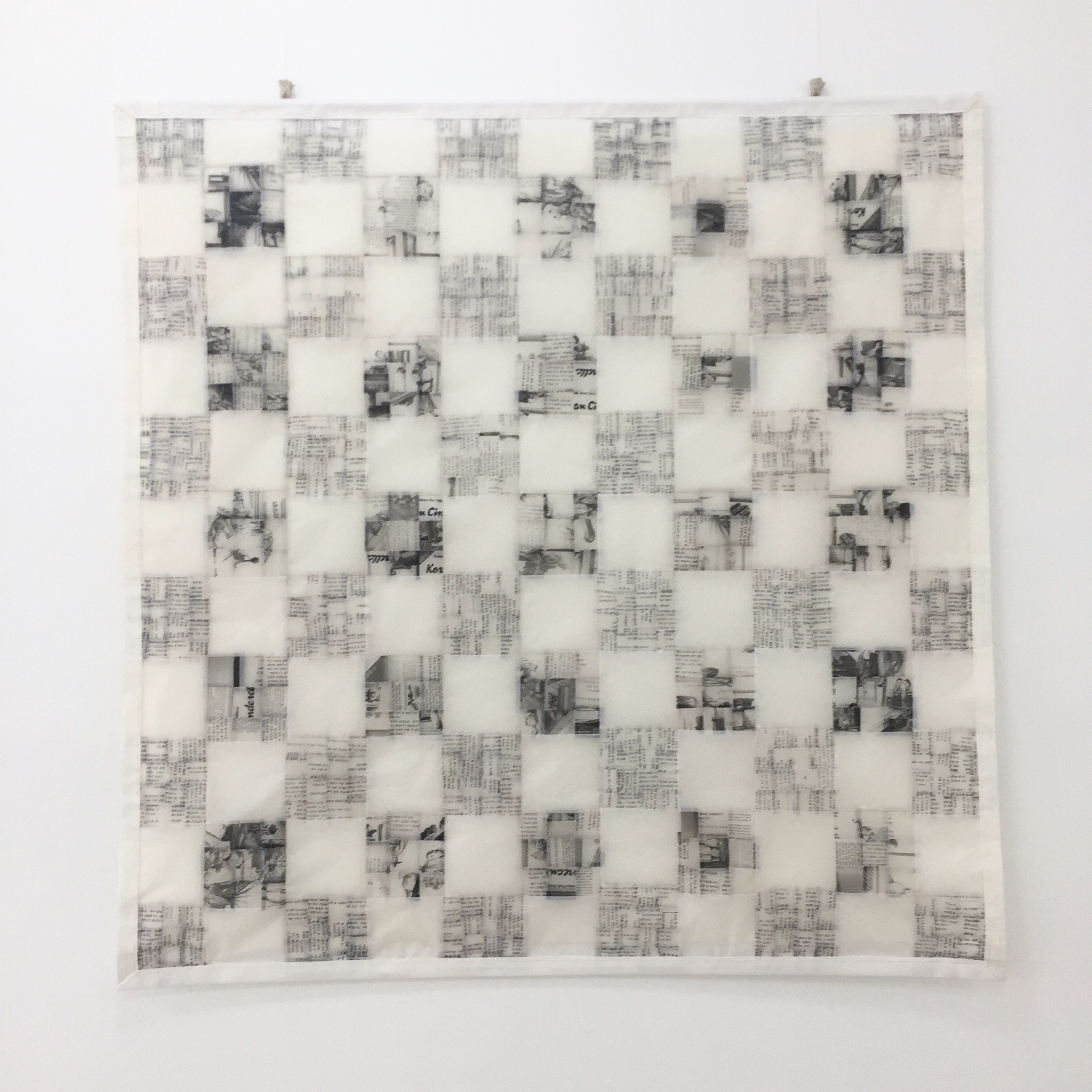 above Ahn Wells  Memoir 1 2017  tracing paper cotton 150x150cm  This 'paper-quilt' is made from the photocopied pages of the artist's favourite children's book. The Korean Cinderella which included both english and Korean text. It was read to the artist by her adoptive mother as a way to involve Korean culture into her upbringing.
