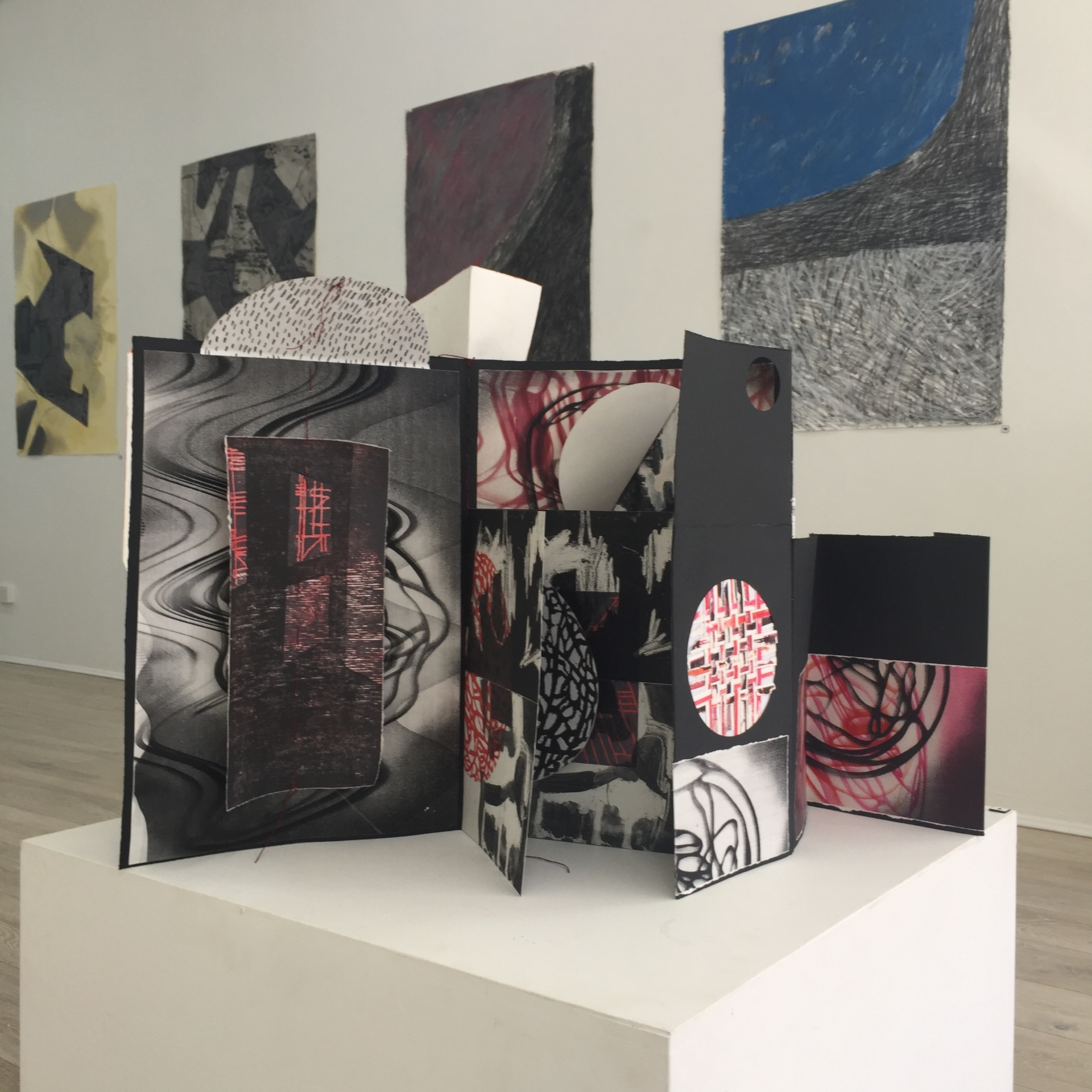 install view of collaborative Artist Book by Caelli Jo Brooker, Alison Smith, Ahn Wells and works on paper on wall Alison Smith and Ahn Wells