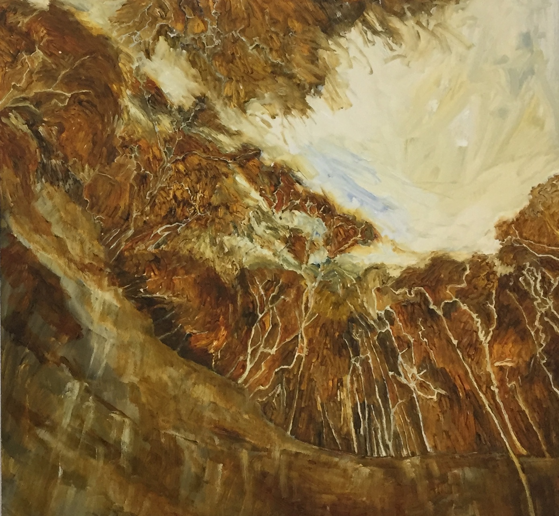 Linda Greedy  Gap Creek Falls amphitheatre, Watagans  2018 oil and shellac on timber 65 x 70cm $800.00