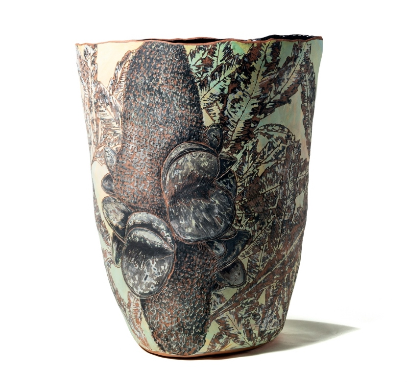 Kara Wood  Leonard  2018 earthenware layer with slip, sgrafitto decoration 60 x 50 x 39cm  $1750.00 photo by Stuart Marlin