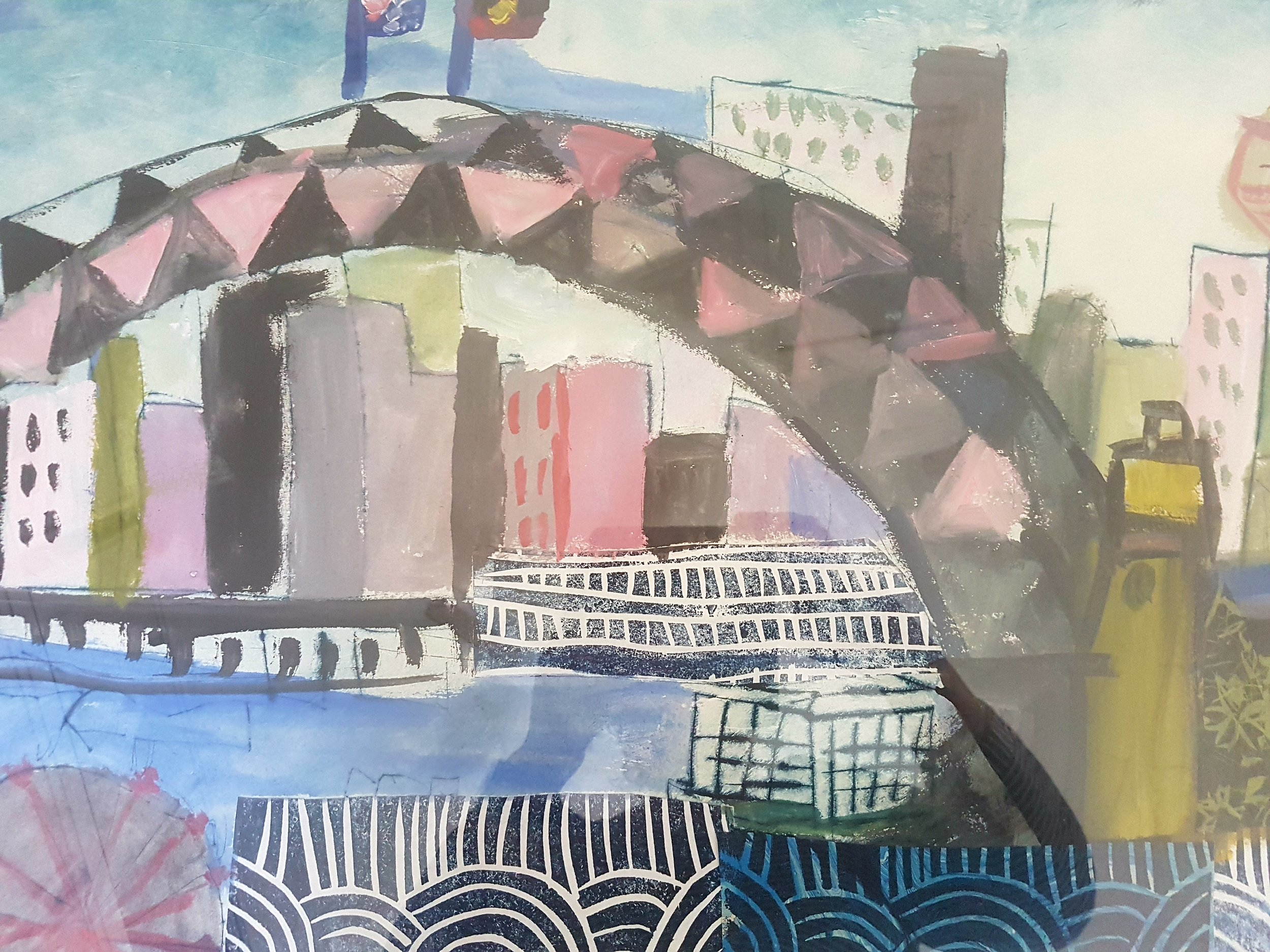 Jane Collins drypoint etching and collage $650.00