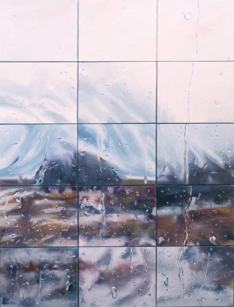Shelagh Lummis Cold Comfort 4 2017  oil on 15 canvas boards 105 x 80cm framed $1200.00
