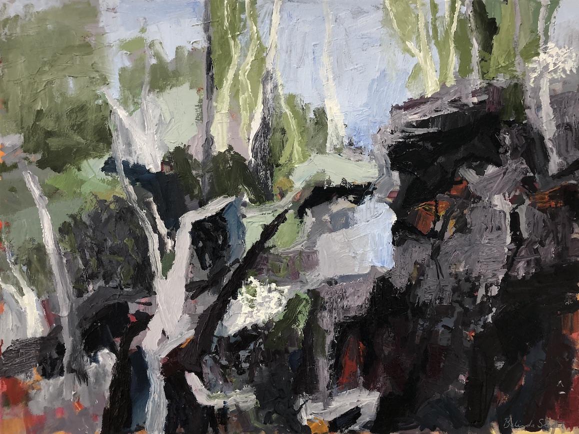 Belinda Street   Pagoda Shadows  2018 oil on canvas 60 x 80cm  $1990.00