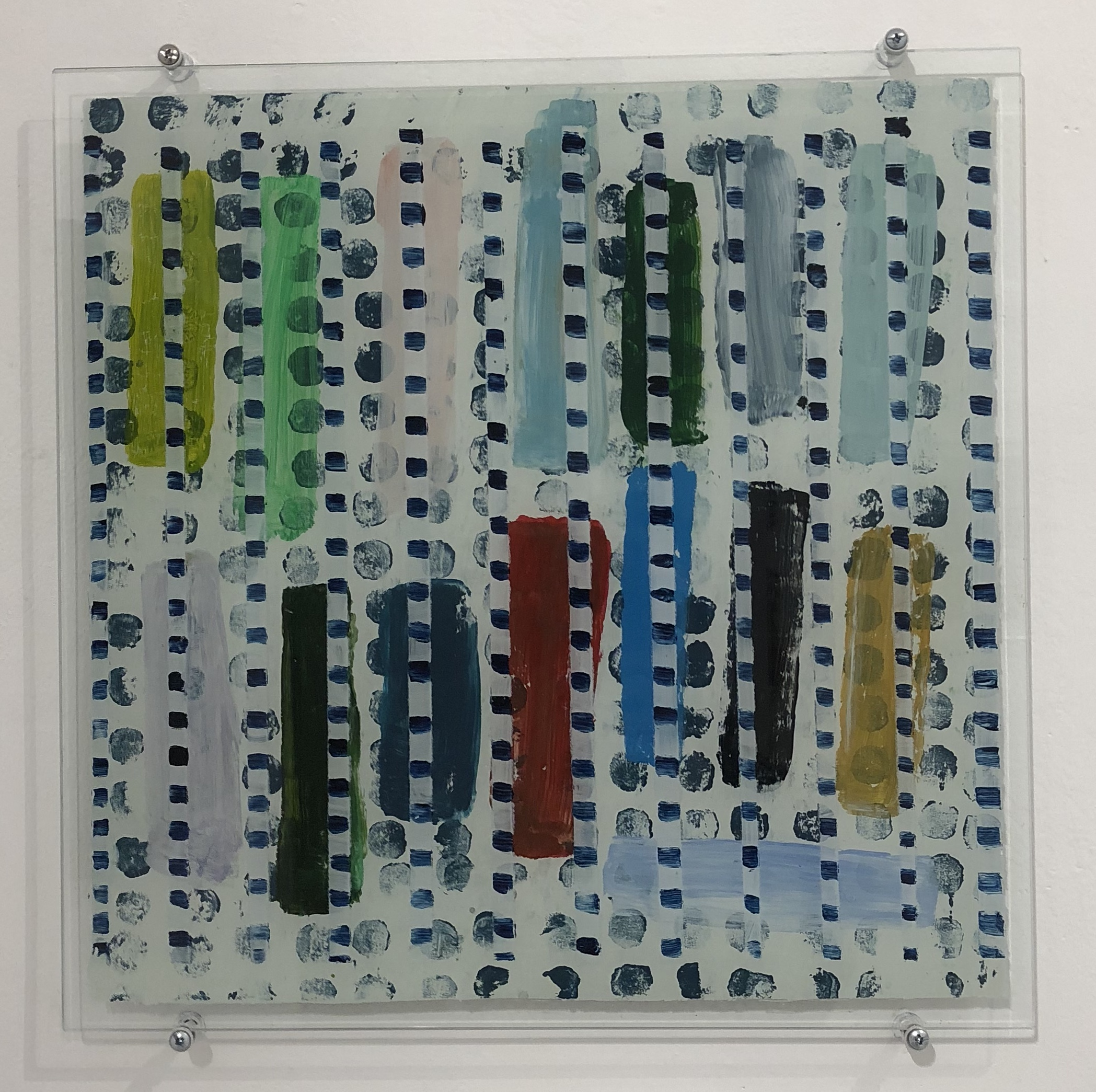 Julia Flanagan Backwards thinking 2017 acrylic on glass 40x40cm $650.00