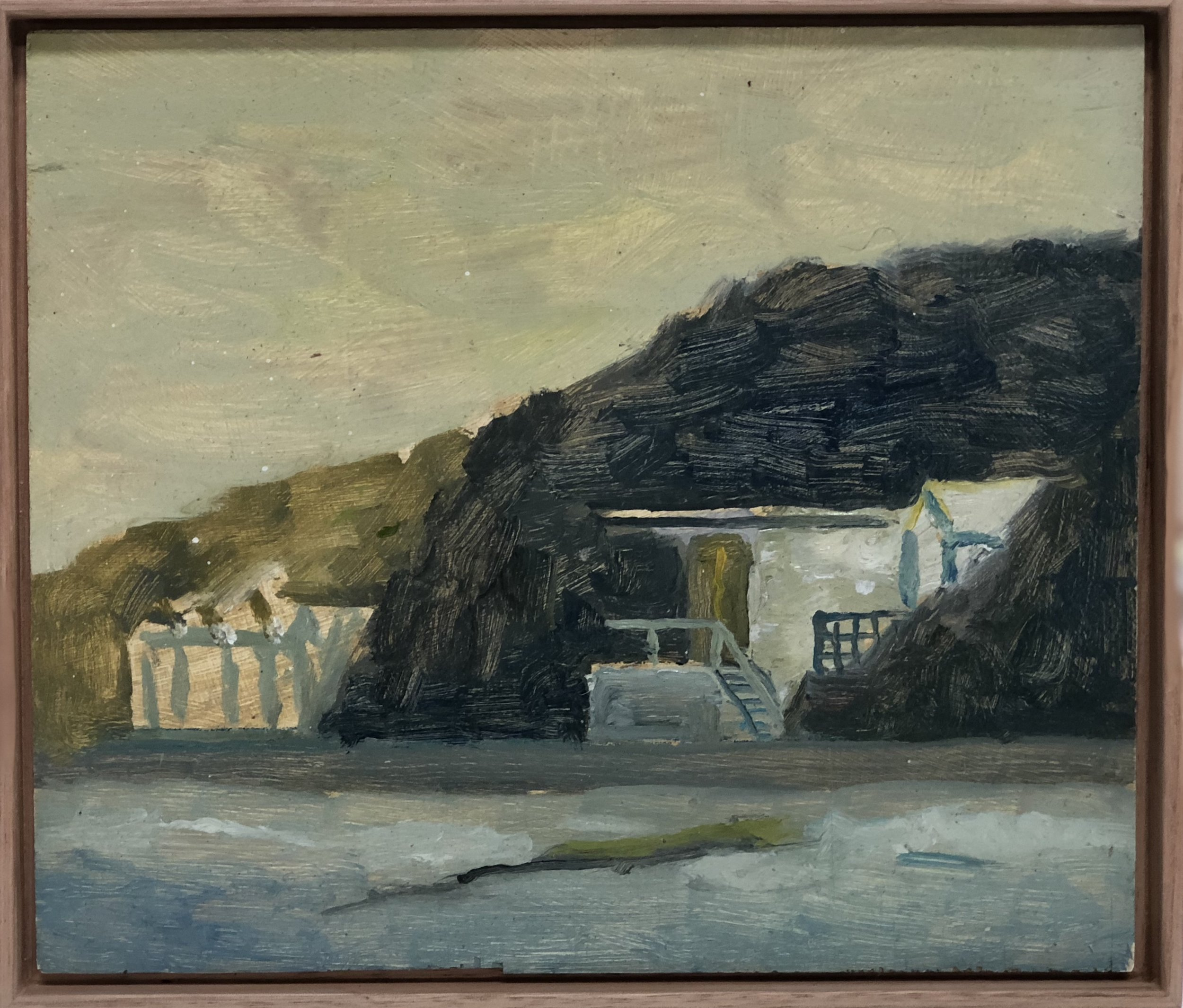 Paul Maher  Portsea boatsheds  oil on board 18.5 x 21.5cm framed SOLD
