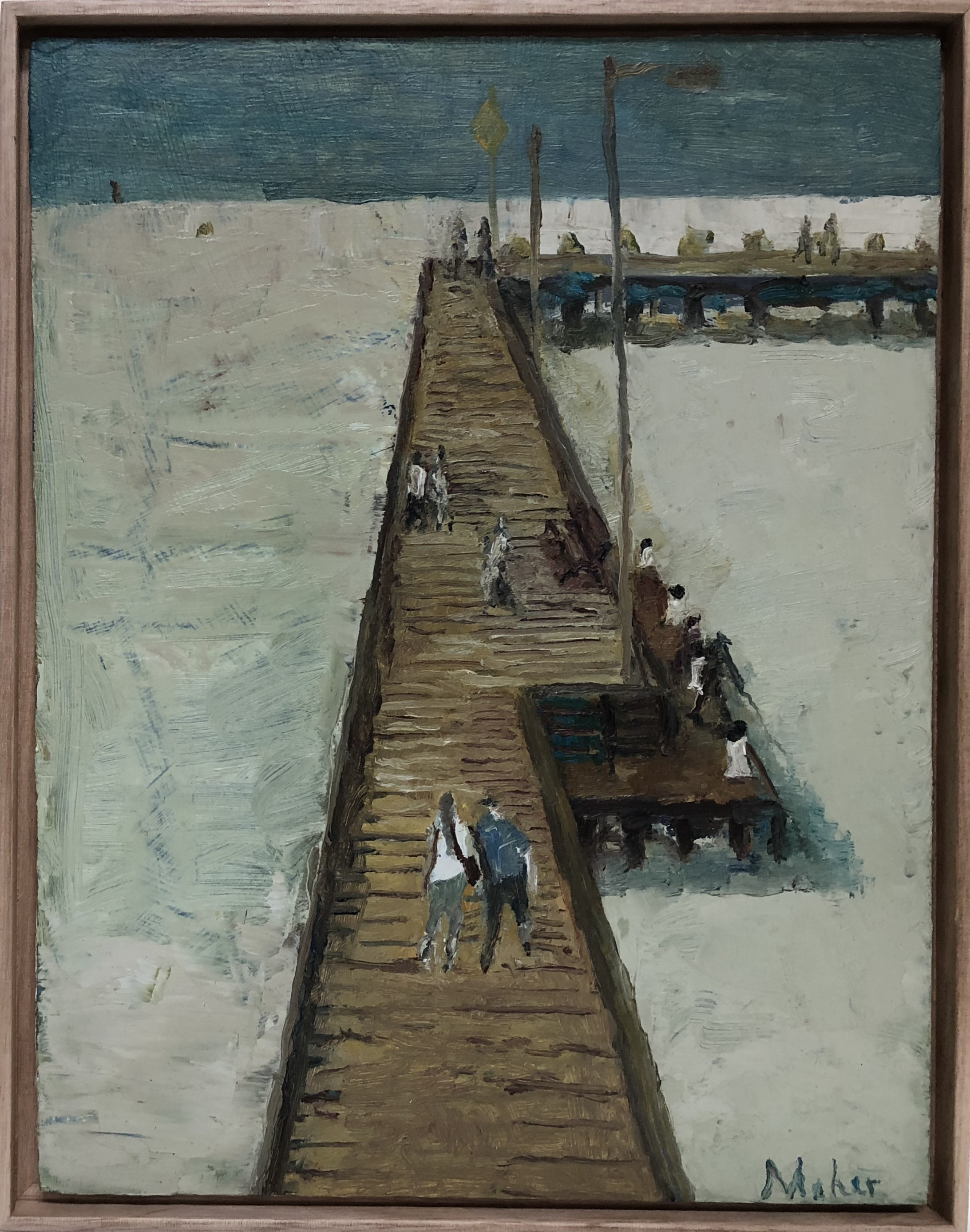 Paul Maher  Portsea Pier  2017 oil on board 31 x 24.5cm framed