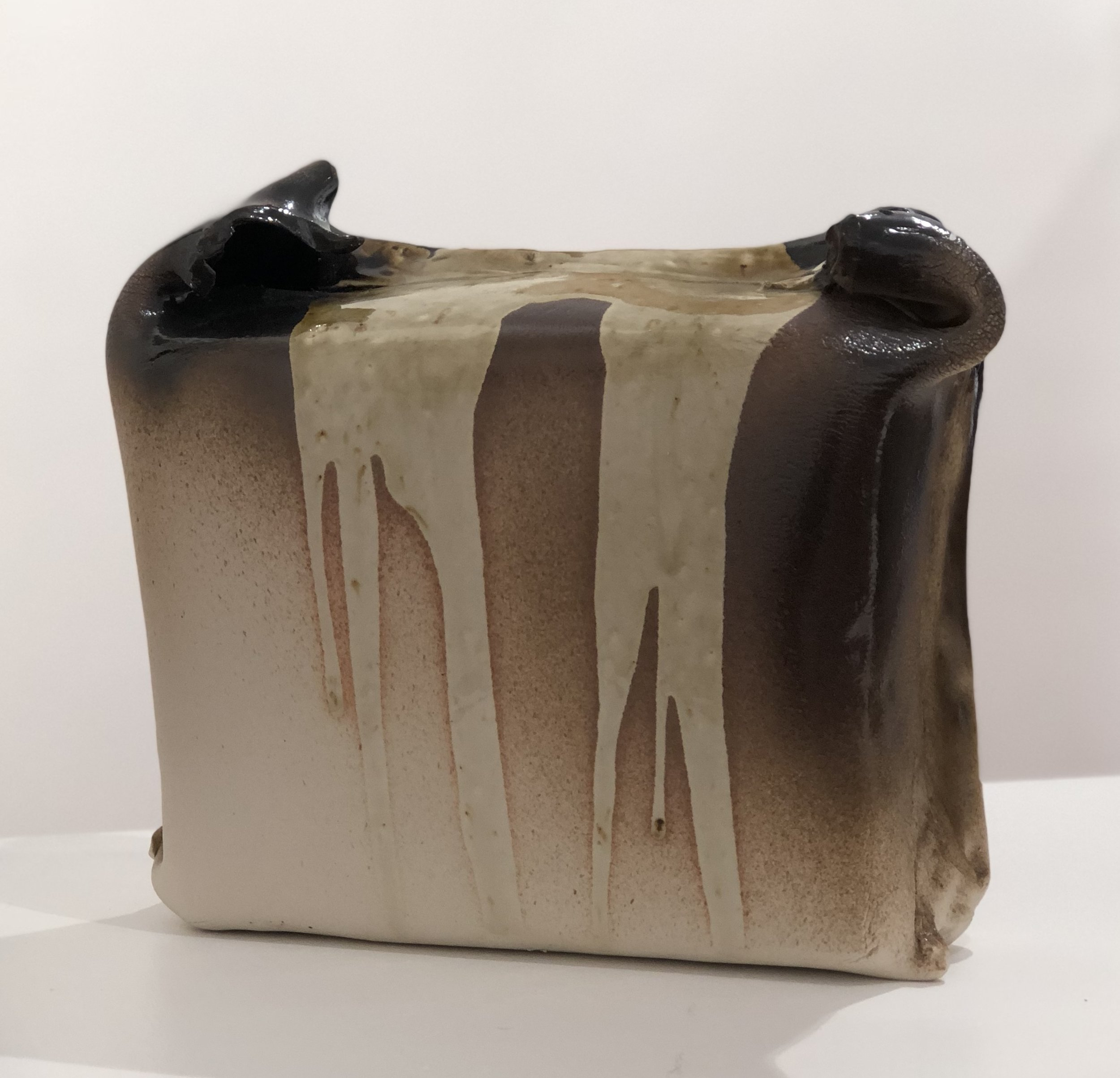 John Heaney  Blinky Palermo at the tea house  2018 stoneware with black and ash glazes 22 x 28 x 19cm $480.00