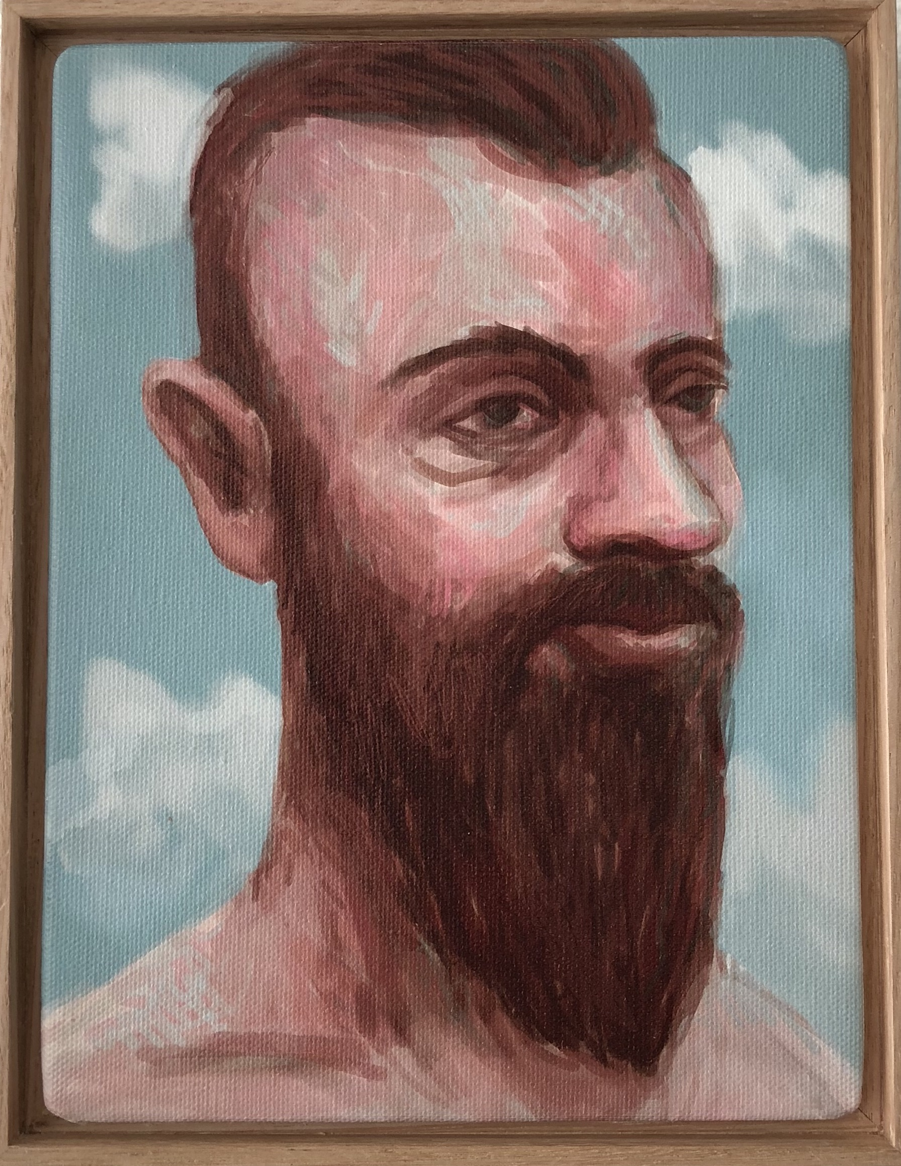 Peter Lankas  Hipster Hank  2018 ipad drawing, archival print on canvas 23.5 x 18cm framed Artist Proof + edition of 10 $285.00 each (AP + 10 available)  edition includes framing
