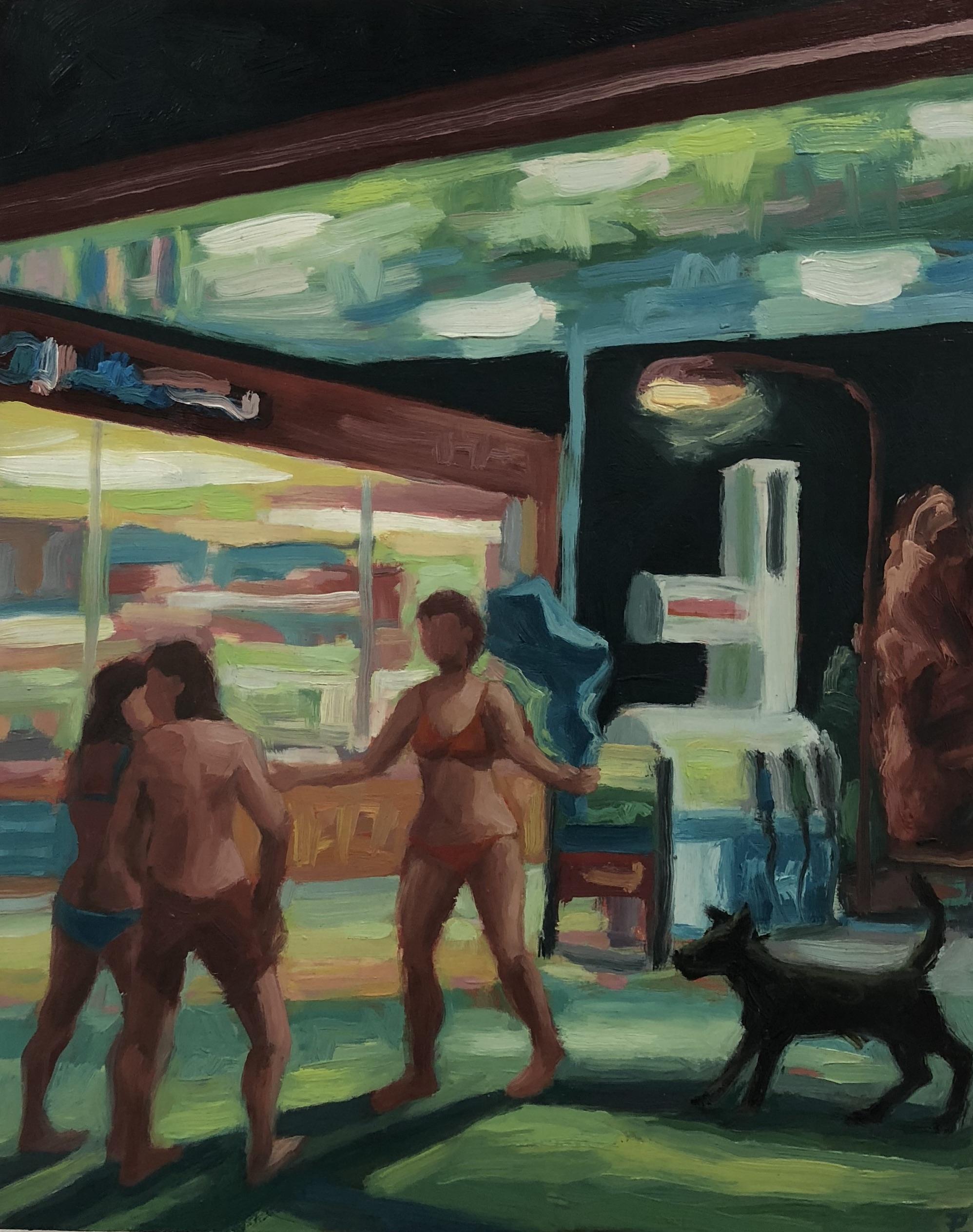 Peter Lankas   Summer night  2018  pigment, oil, chalk, eggwhite on board  50 x 40cm unframed  $750.00