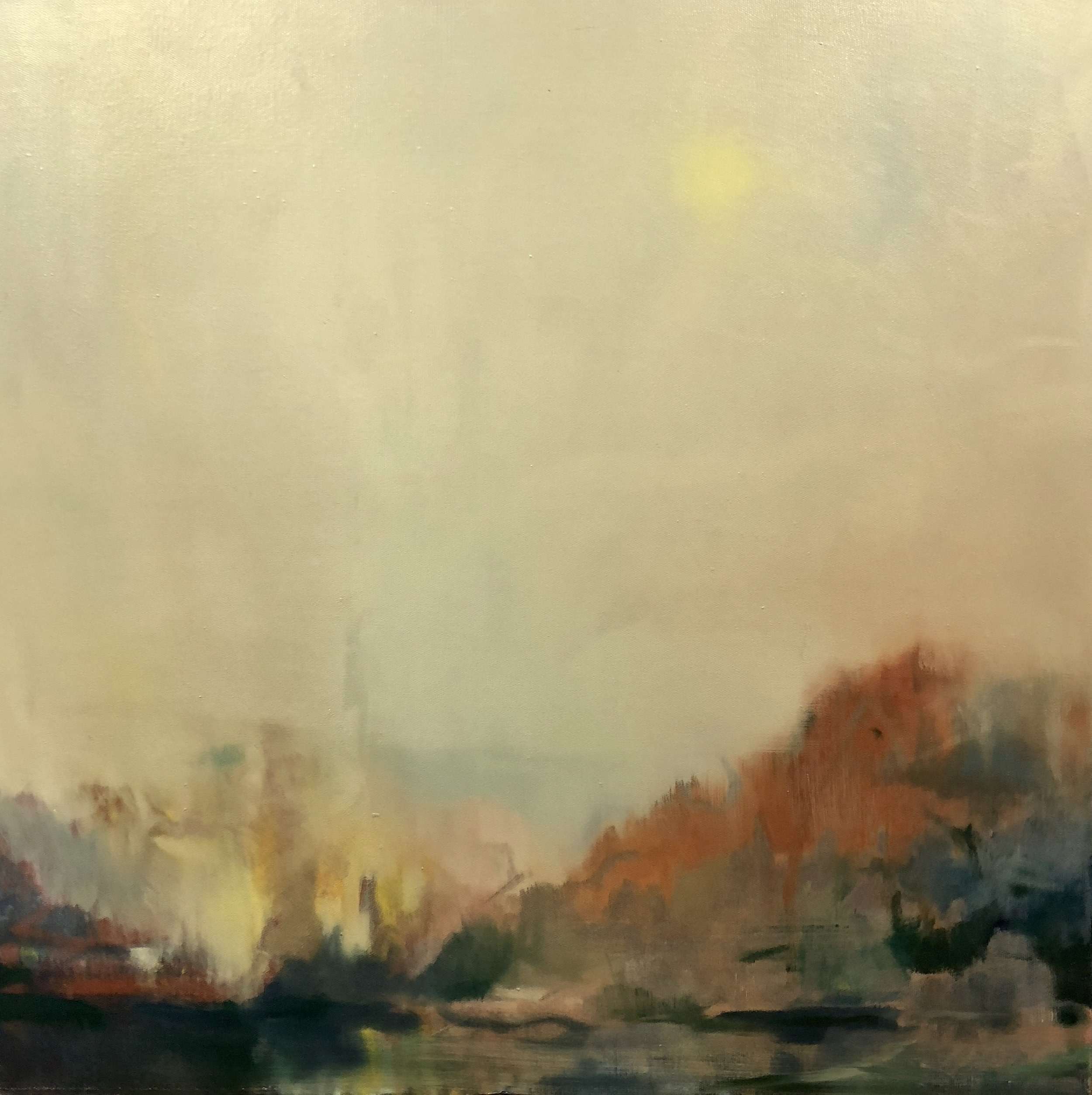 Dan Nelson   Dust and light  2018  oil on canvas  76 x76cm  $1300.00