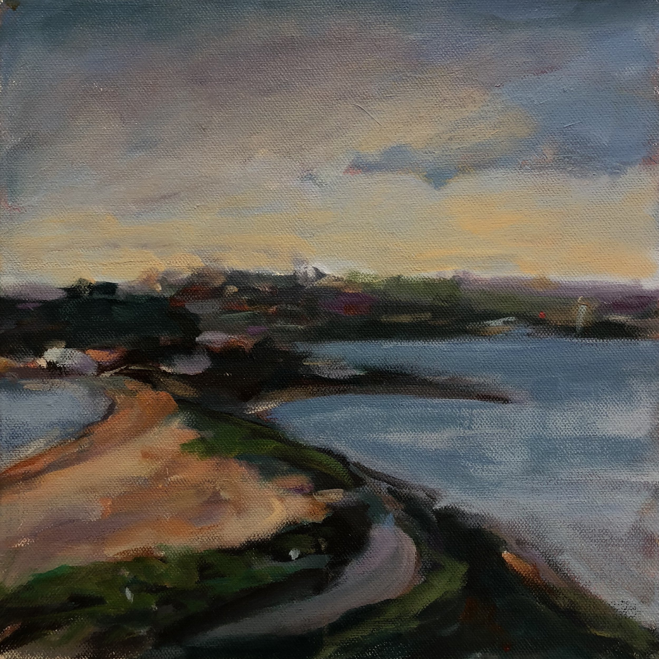 Andrew Finnie   View From The Peninsula  2017 acrylic on canvas 30 x 30cm $450.00