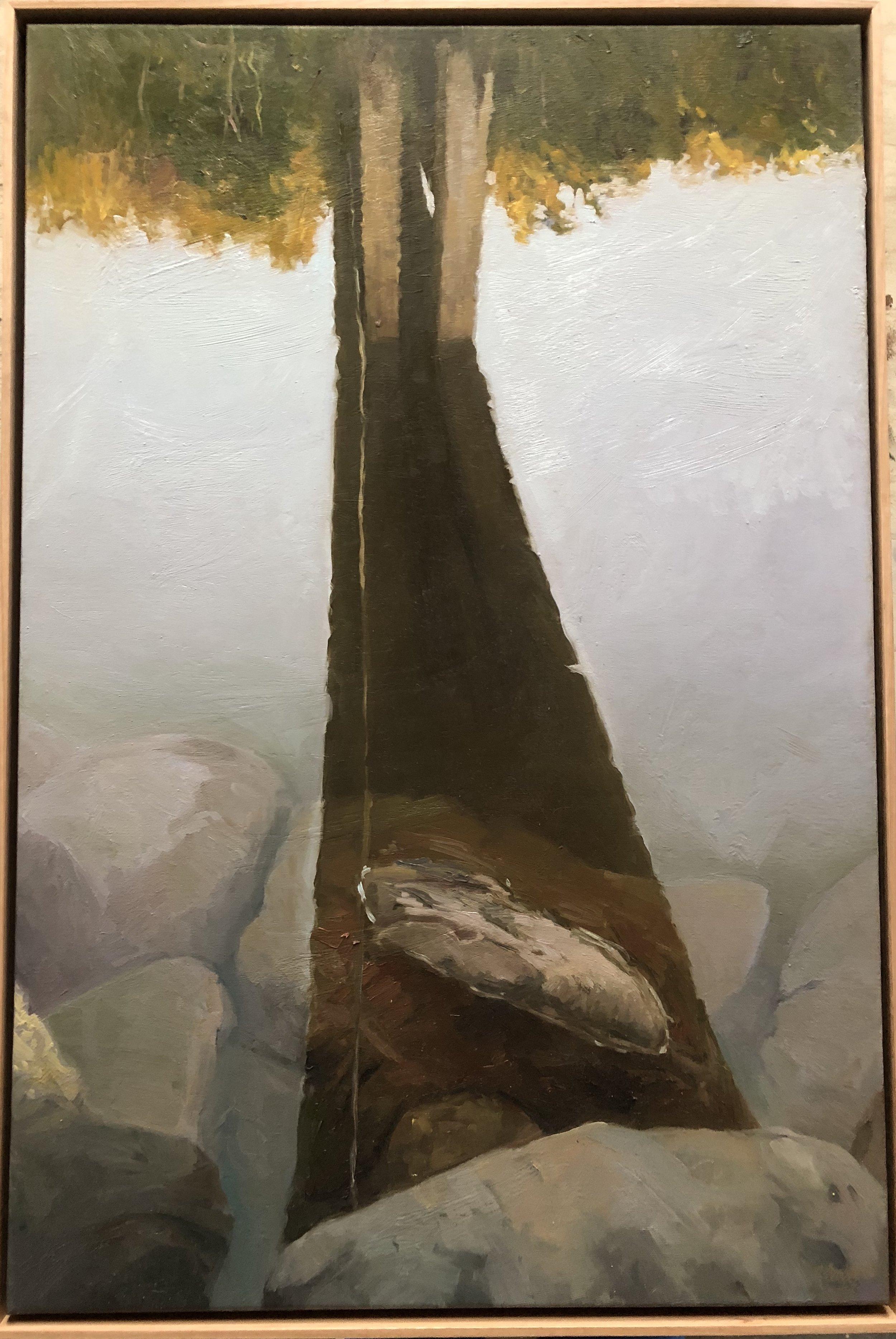 Dino Consalvo  Bridge (Mooney Mooney Creek) 2017  oil on canvas  92 x 61cm  $2800.00 (2017 Paddington Prize Finalist artwork)
