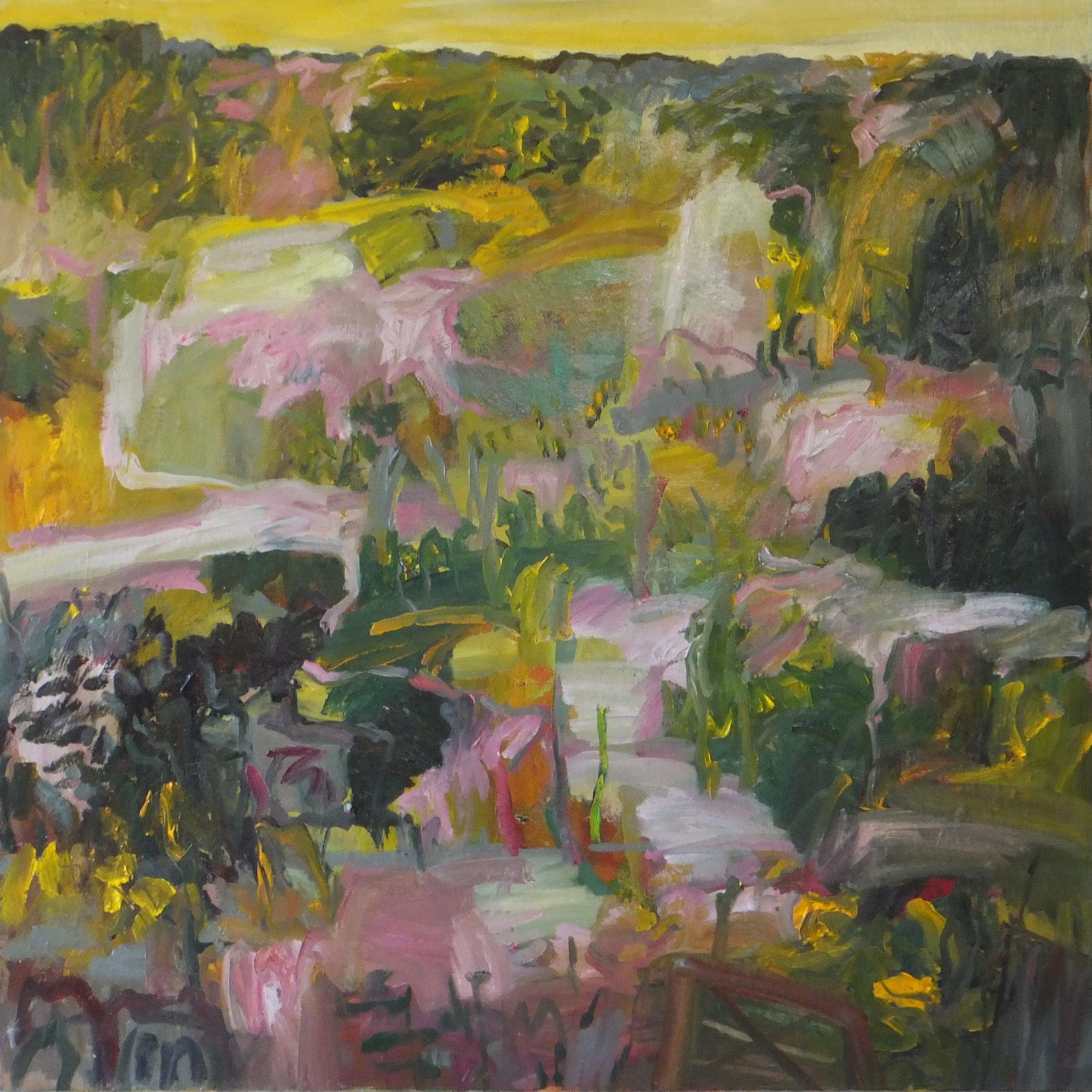 Lydia Miller   Through the Gate  2018  oil on canvas  76 x 76cm  $1200.00