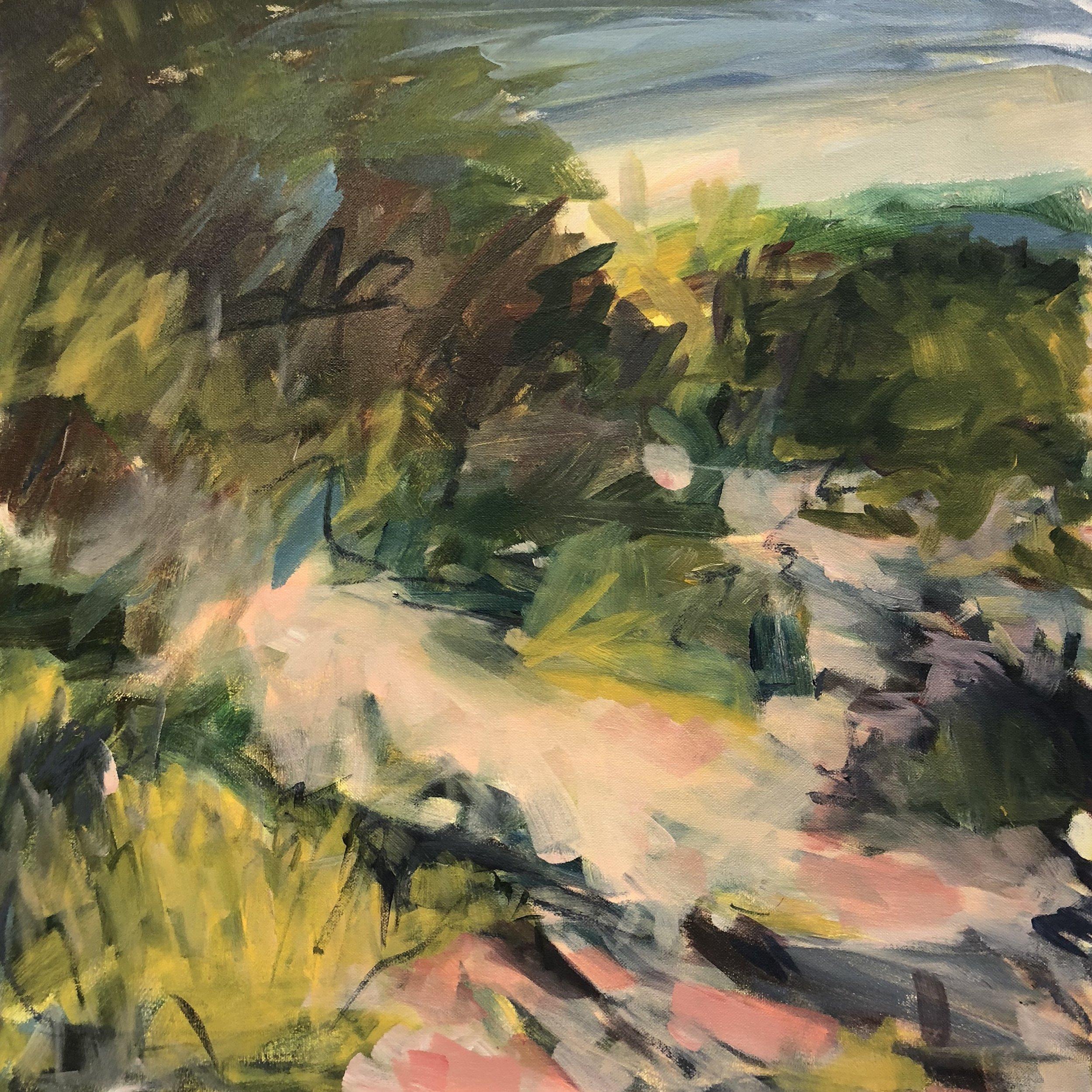 Jennifer Finnie  Coastal walk 2018  oil on canvas  60.5 x 60.5cm  $950.00